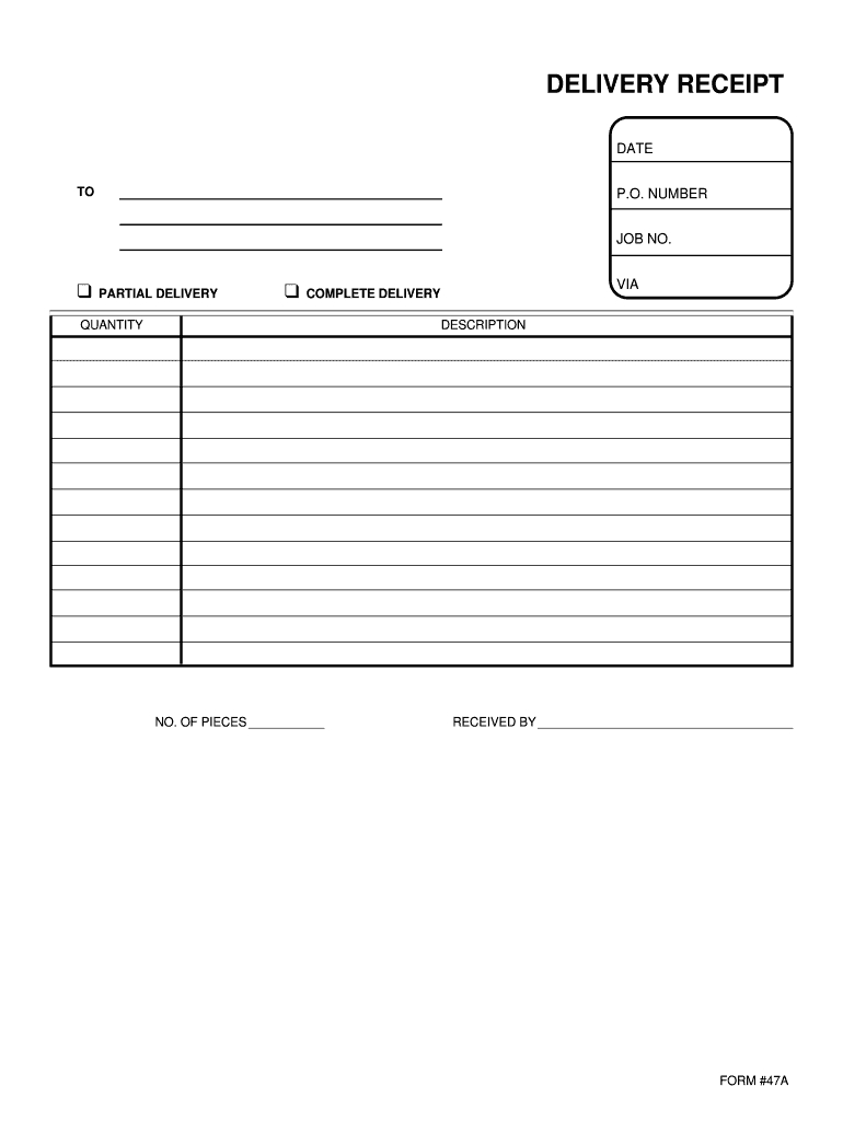 Delivery Receipt Template - Fill Online, Printable, Fillable Pertaining To Proof Of Delivery Template Word