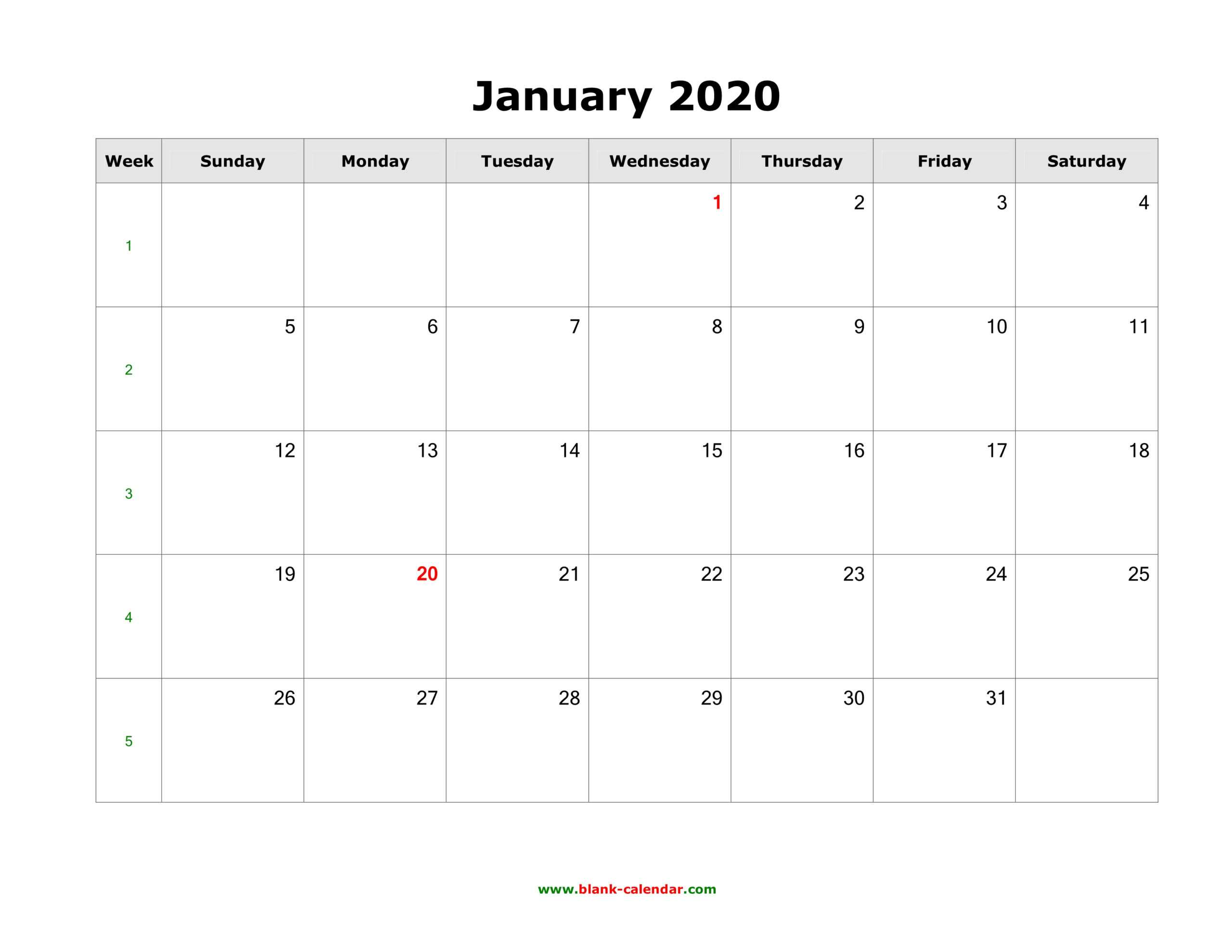 Download Blank Calendar 2020 (12 Pages, One Month Per Page Inside Blank One Month Calendar Template