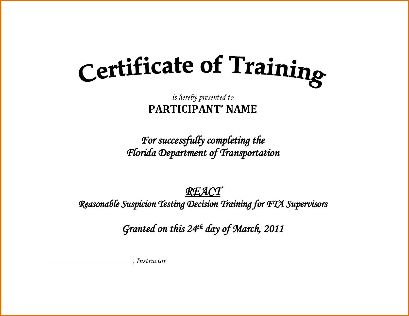 Downloadable Certificate Of Training Completion Template Inside Training Certificate Template Word Format