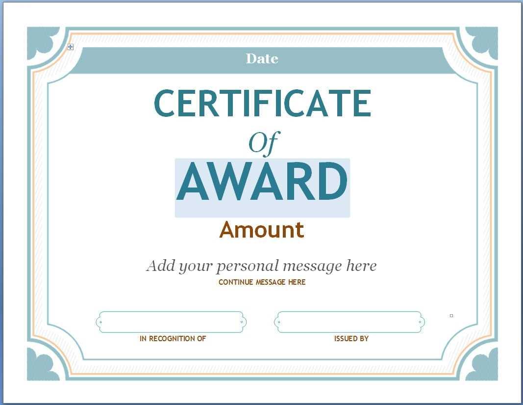 Editable Award Certificate Template In Word #1476 Throughout Throughout Blank Award Certificate Templates Word