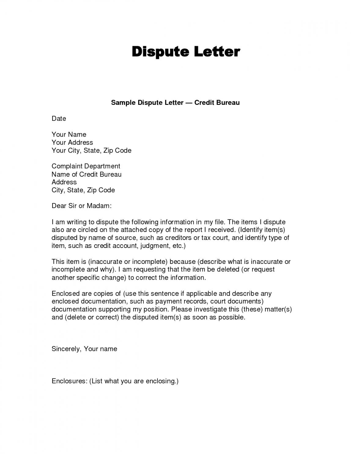 Editable Writing Dispute Letter Format Make A Habit 2019 Inside Credit Report Dispute Letter Template