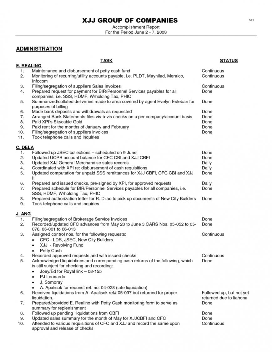 Employee Accomplishment Report Sample - Karati.ald2014 Regarding Weekly Accomplishment Report Template