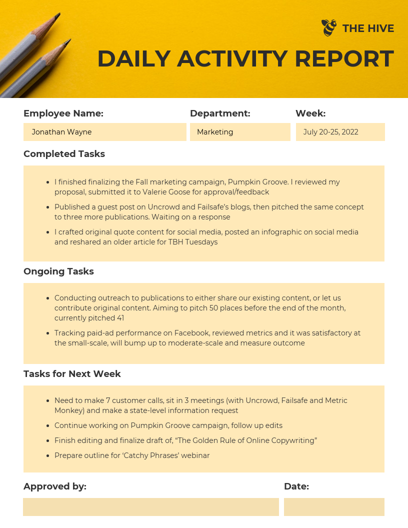 Employee Daily Activity Report Template With Regard To Employee Daily Report Template