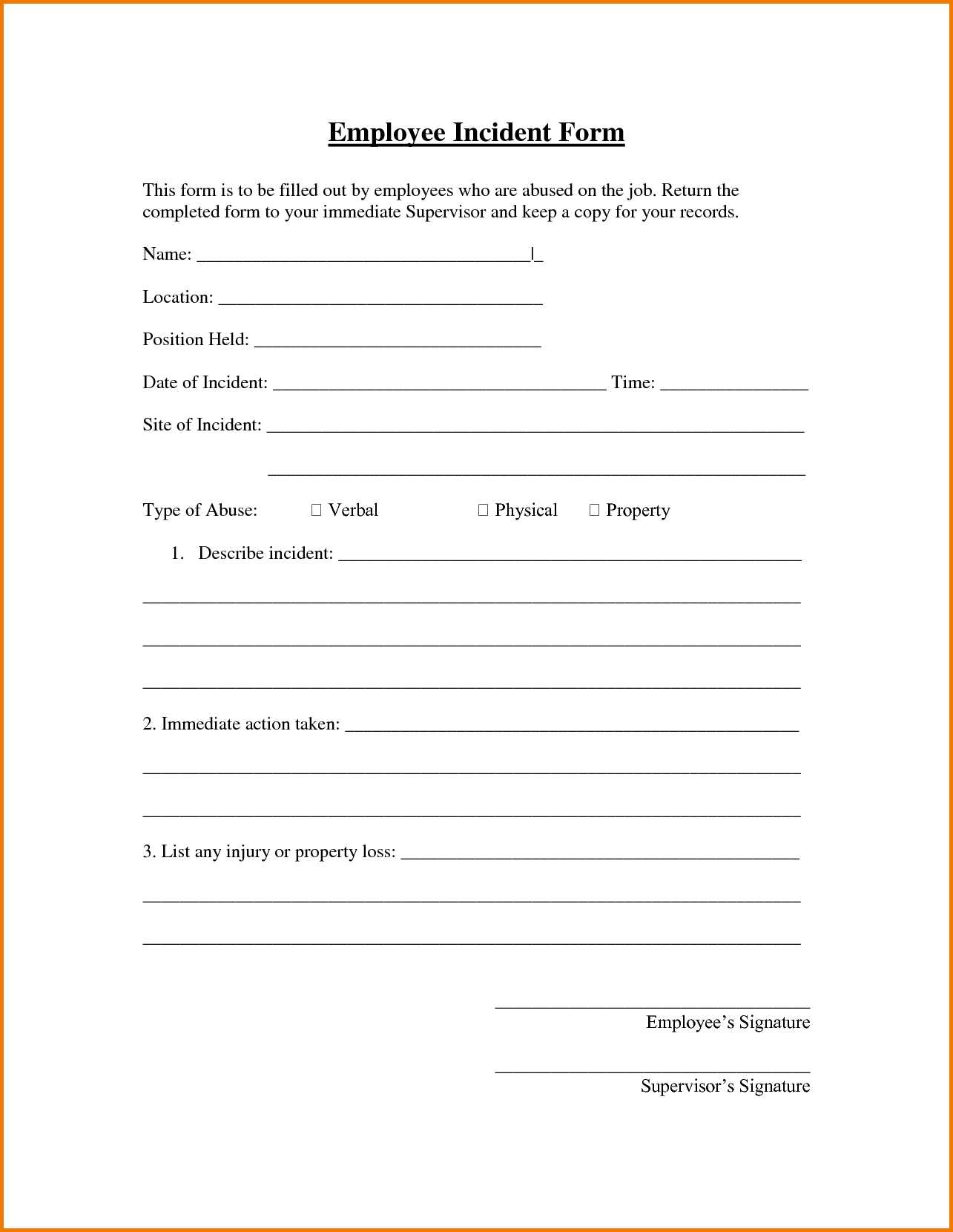 Employee Incident Report Form Template - Karati.ald2014 Pertaining To Incident Report Form Template Qld