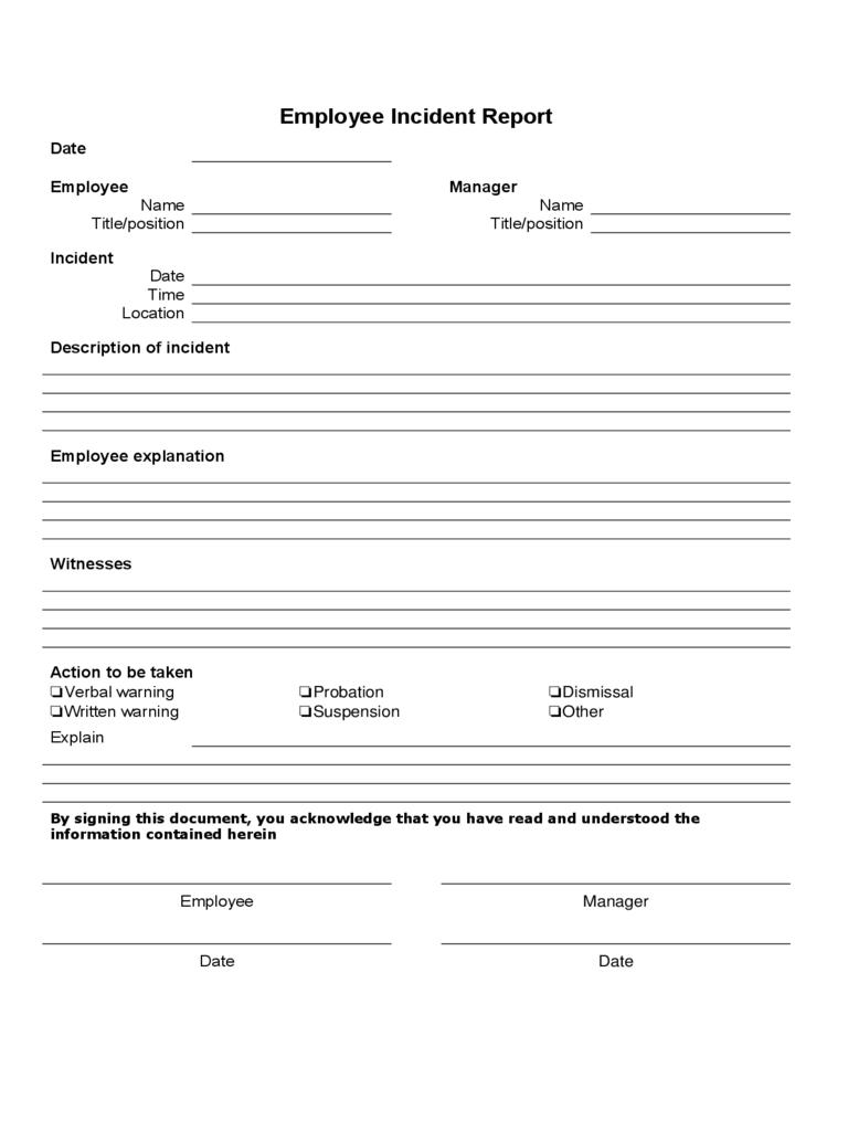 Employee Incident Report Template Free – Karati.ald2014 With Regard To Incident Report Form Template Word