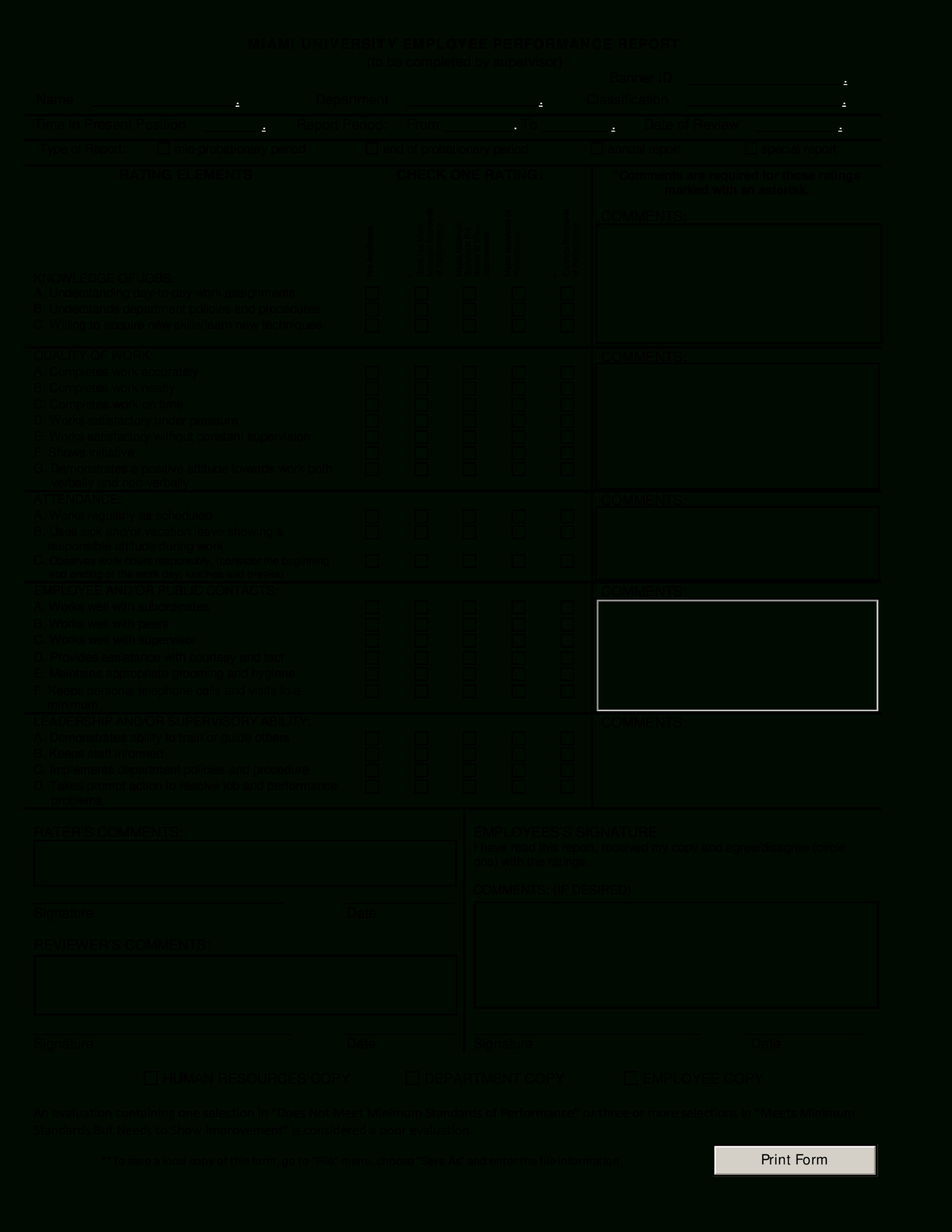 Employee Performance Report   Templates At Intended For Staff Progress Report Template