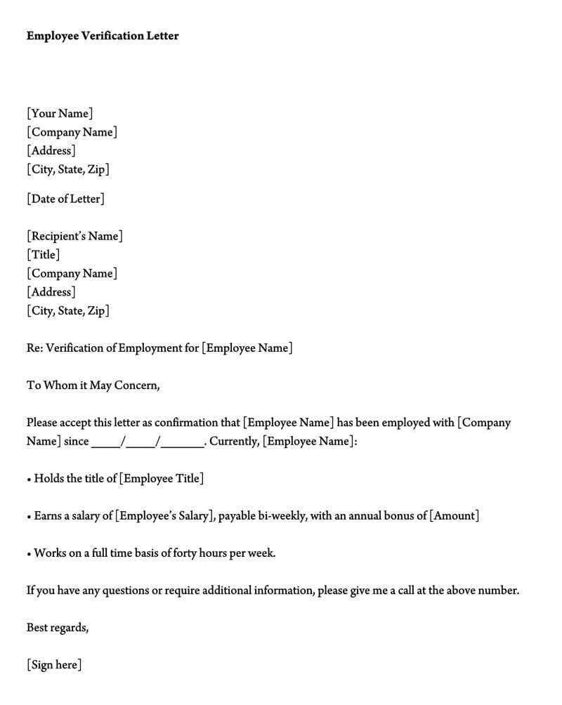 Employment Verification Letter (40+ Sample Letters And Inside Employment Verification Letter Template Word