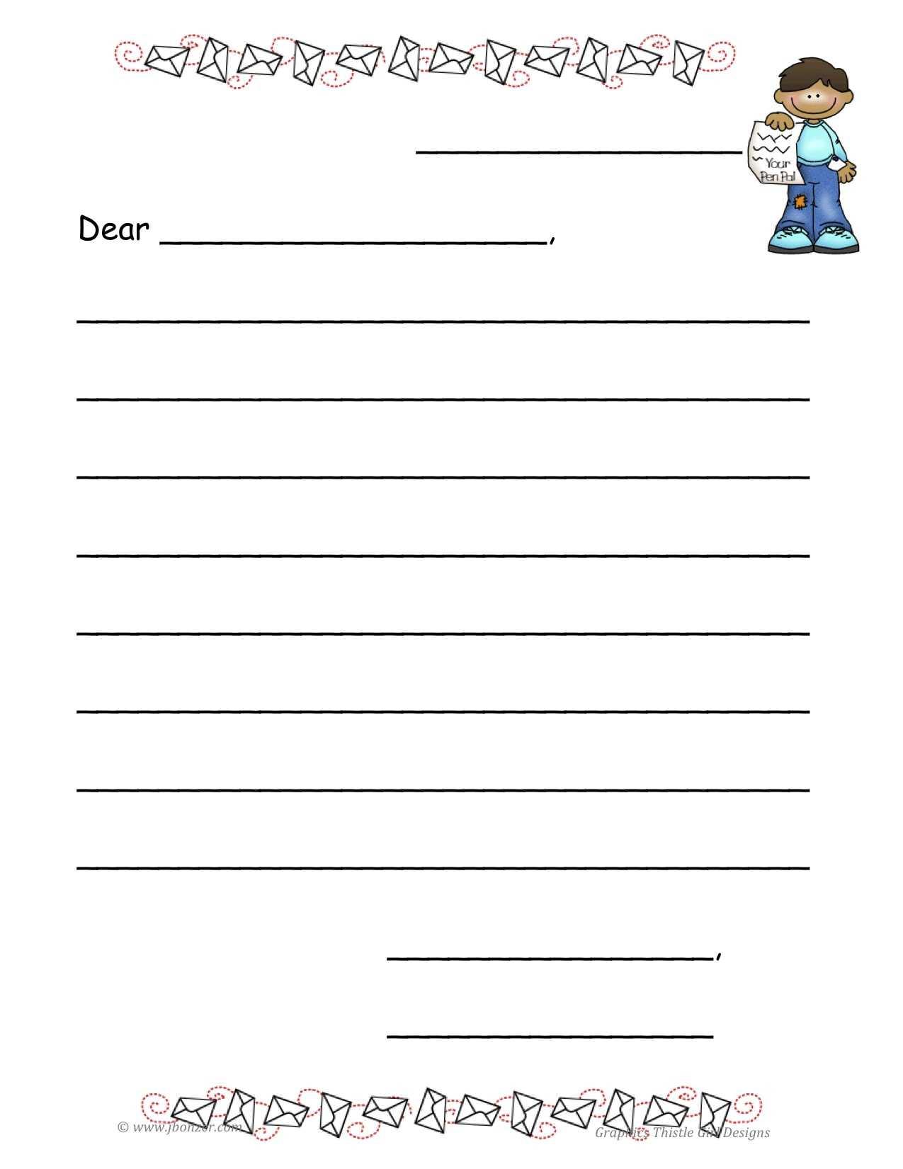 Empty Letter Template – Kerren In Blank Letter Writing Template For Kids