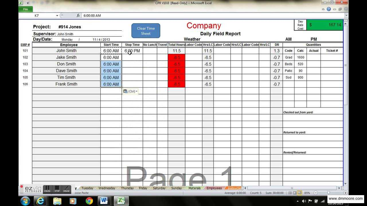 End Of Day Report Eod Best Examples Daily Template Free Intended For Daily Status Report Template Xls