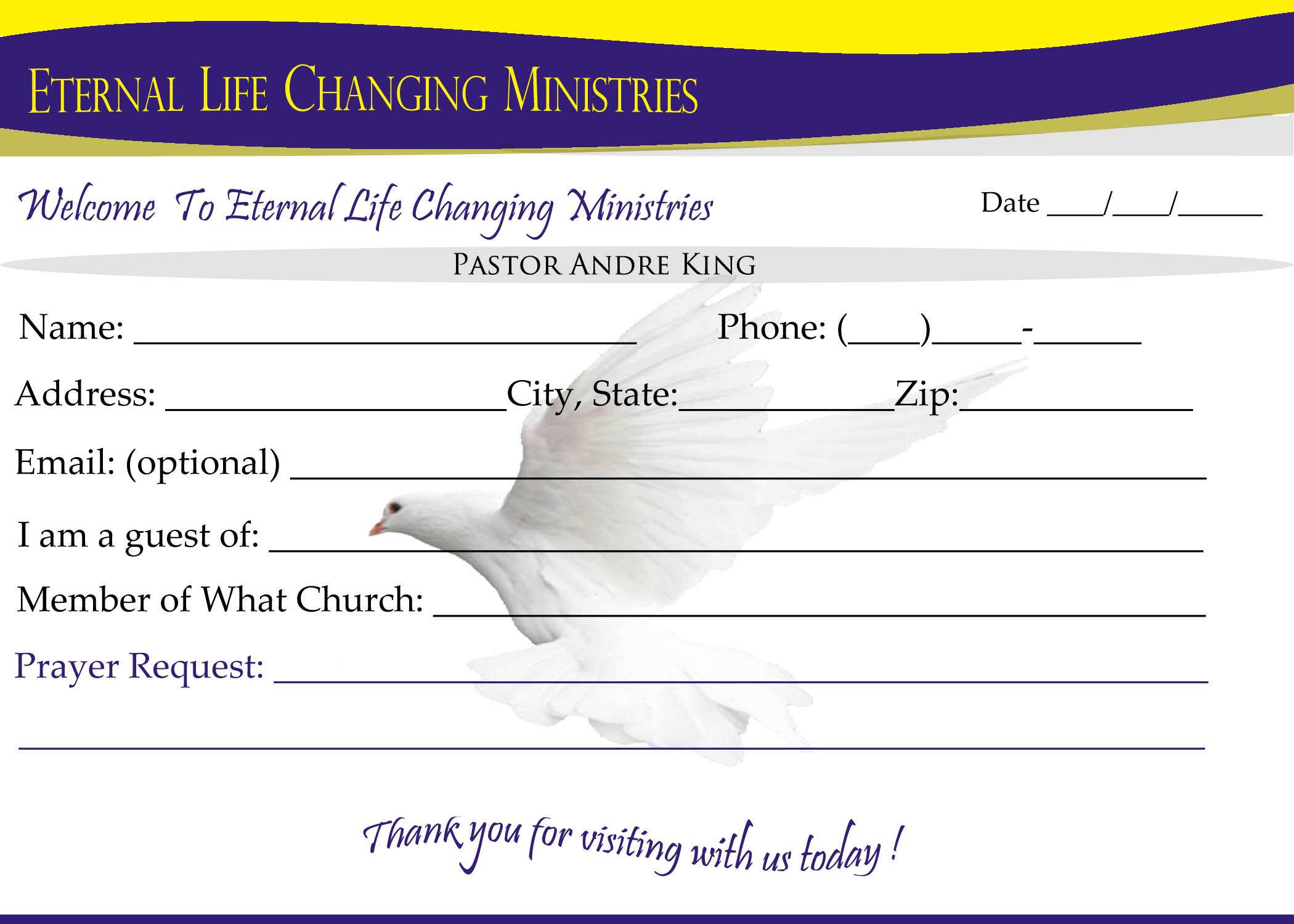 Eternal Life Visitor Card B | Creative Kingdom Designs In Church Visitor Card Template Word