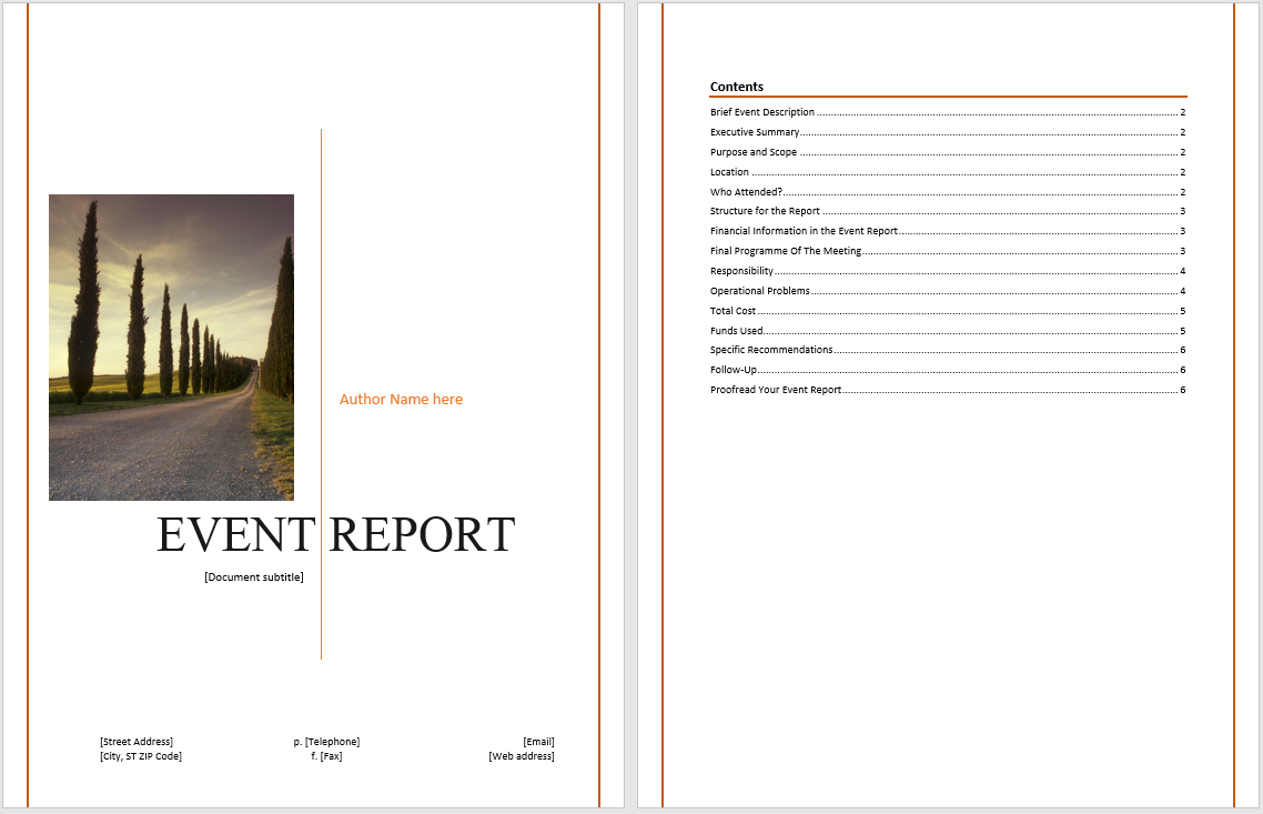 Event Report Template - Microsoft Word Templates For It Report Template For Word