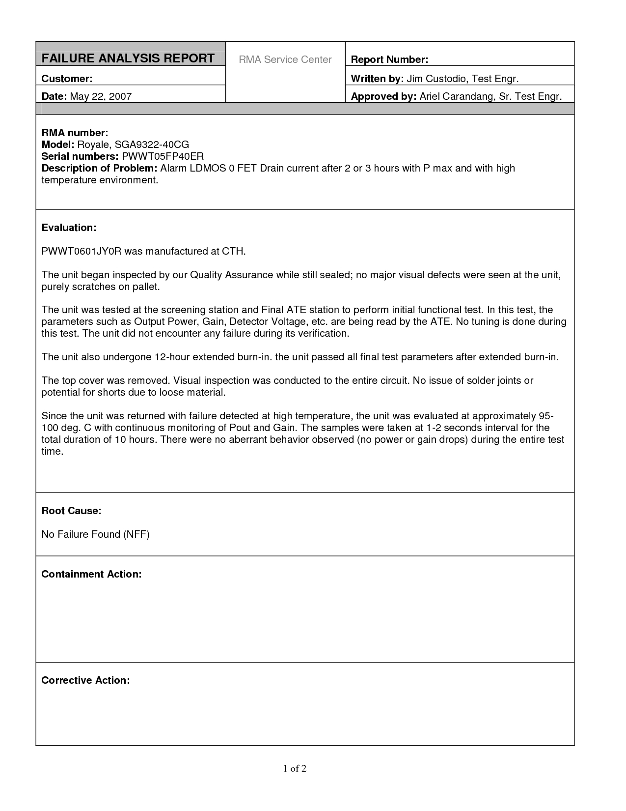 Excellent Failure Analysis Report Writtenjimcustodio34 Within Failure Analysis Report Template