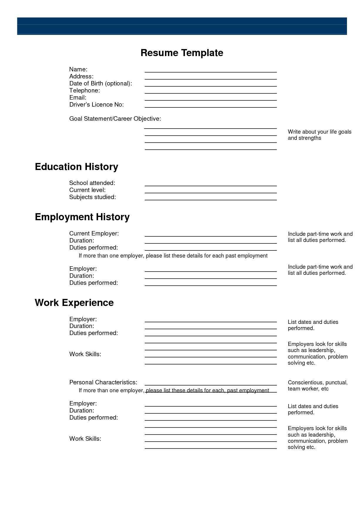 Fill In The Blank Resume Printable - Karan.ald2014 In Free Printable Resume Templates Microsoft Word