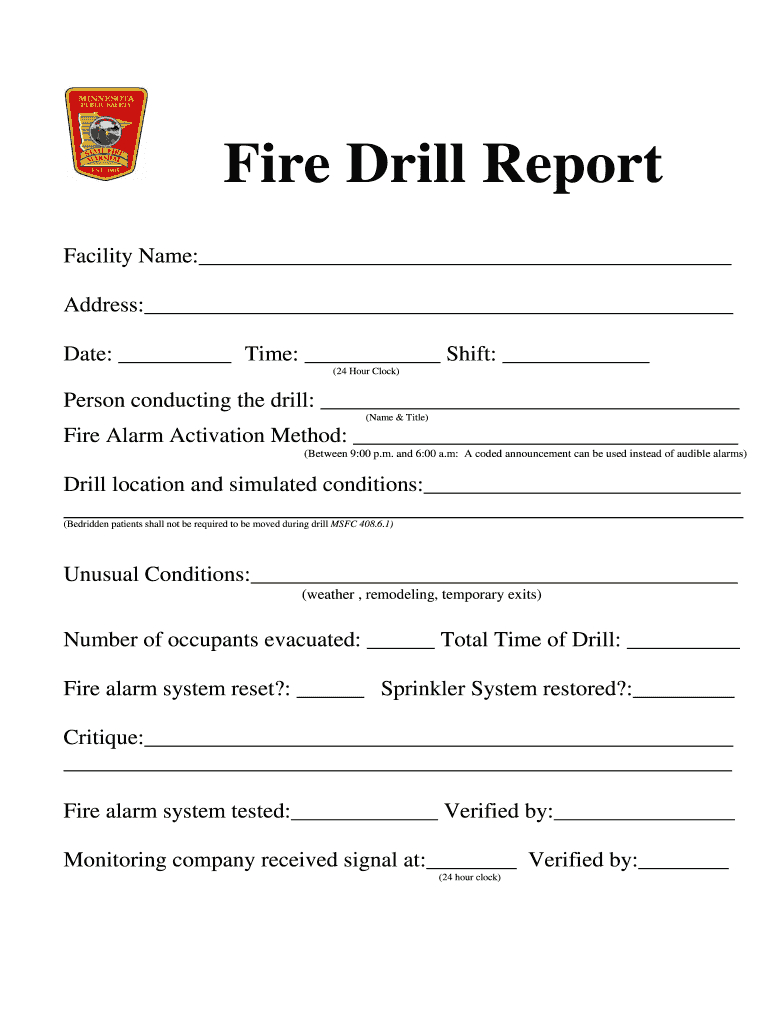 Fire Drill Report Template Uk - Fill Online, Printable In Emergency Drill Report Template