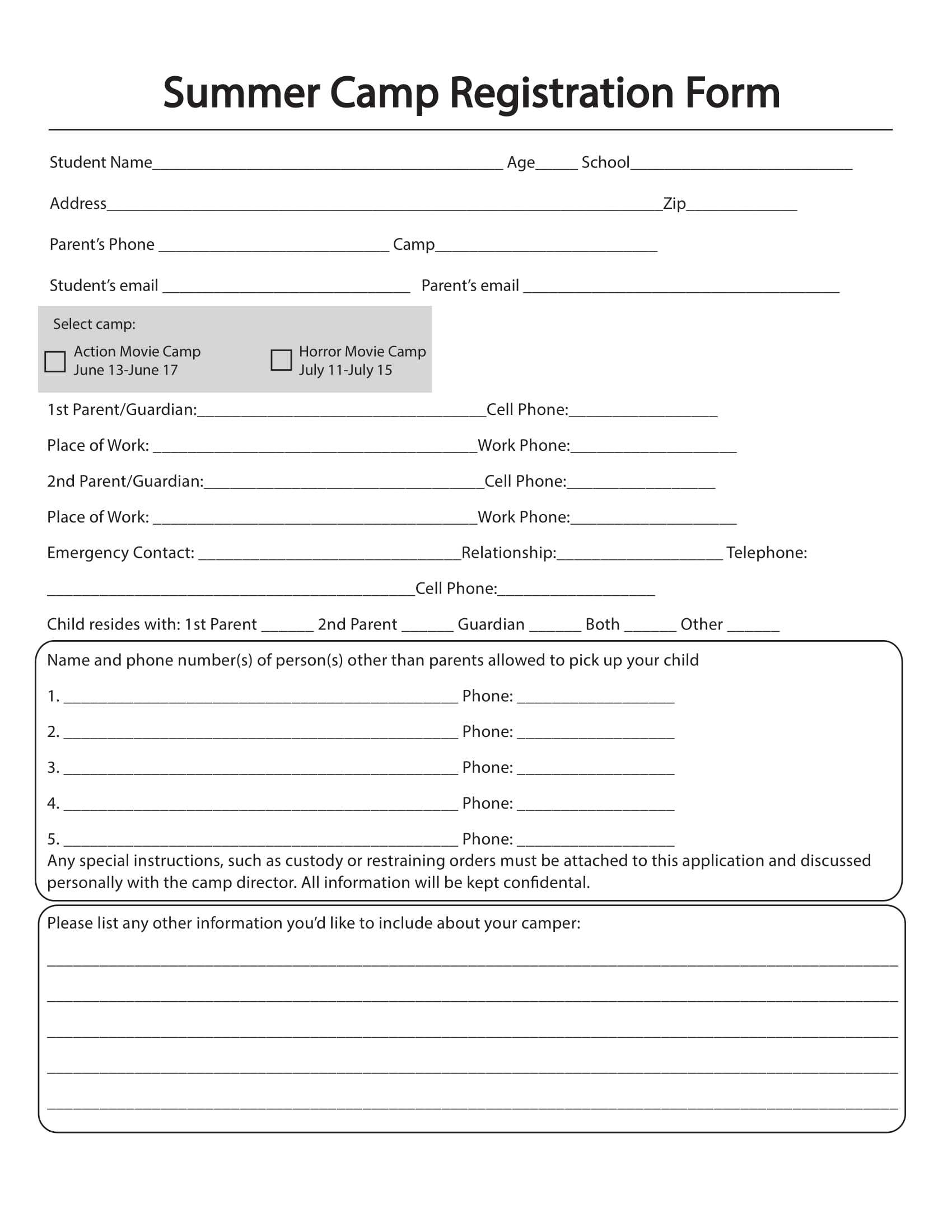 Free 11+ Printable Summer Camp Registration Forms In Pdf Pertaining To Camp Registration Form Template Word