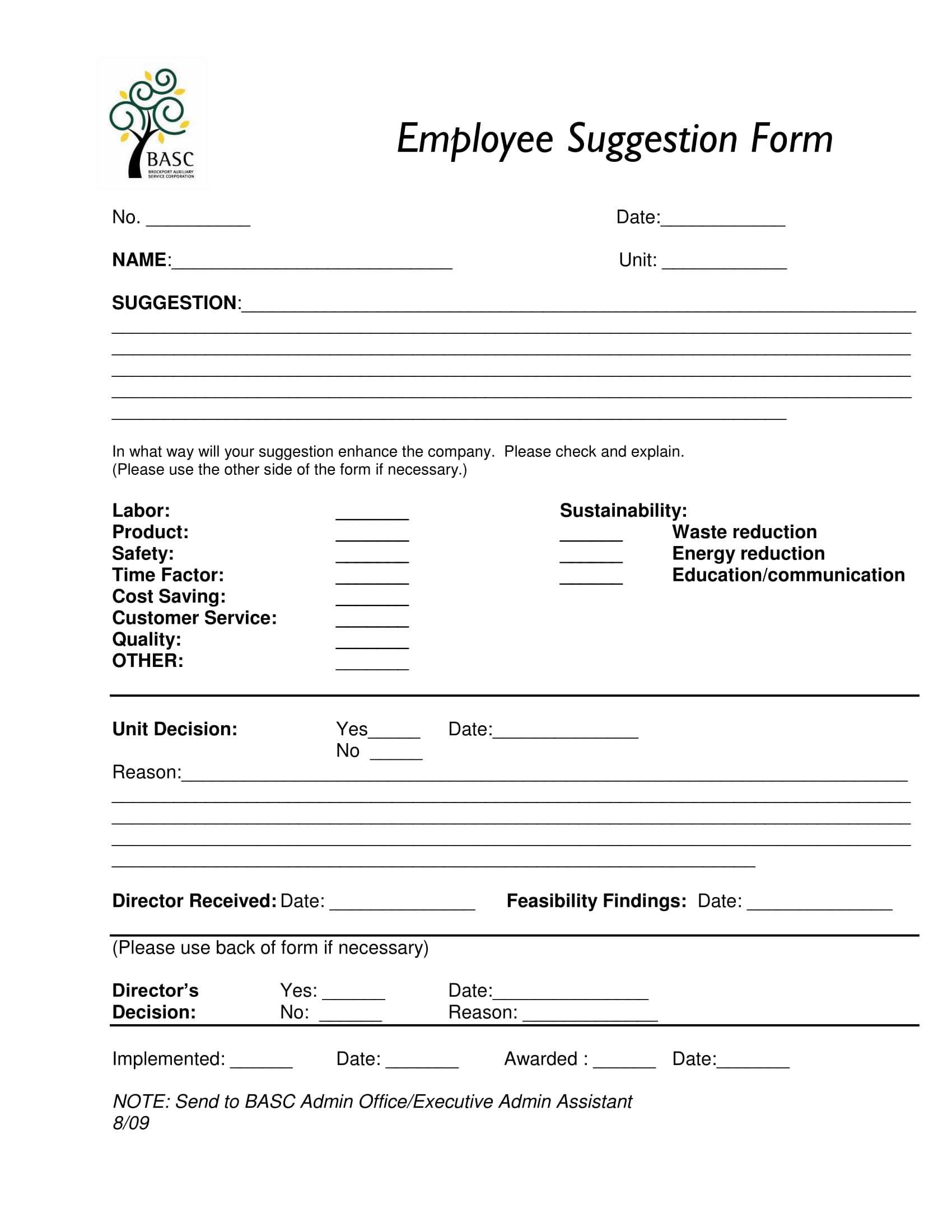 Free 14+ Employee Suggestion Forms In Ms Word | Excel | Pdf Intended For Word Employee Suggestion Form Template