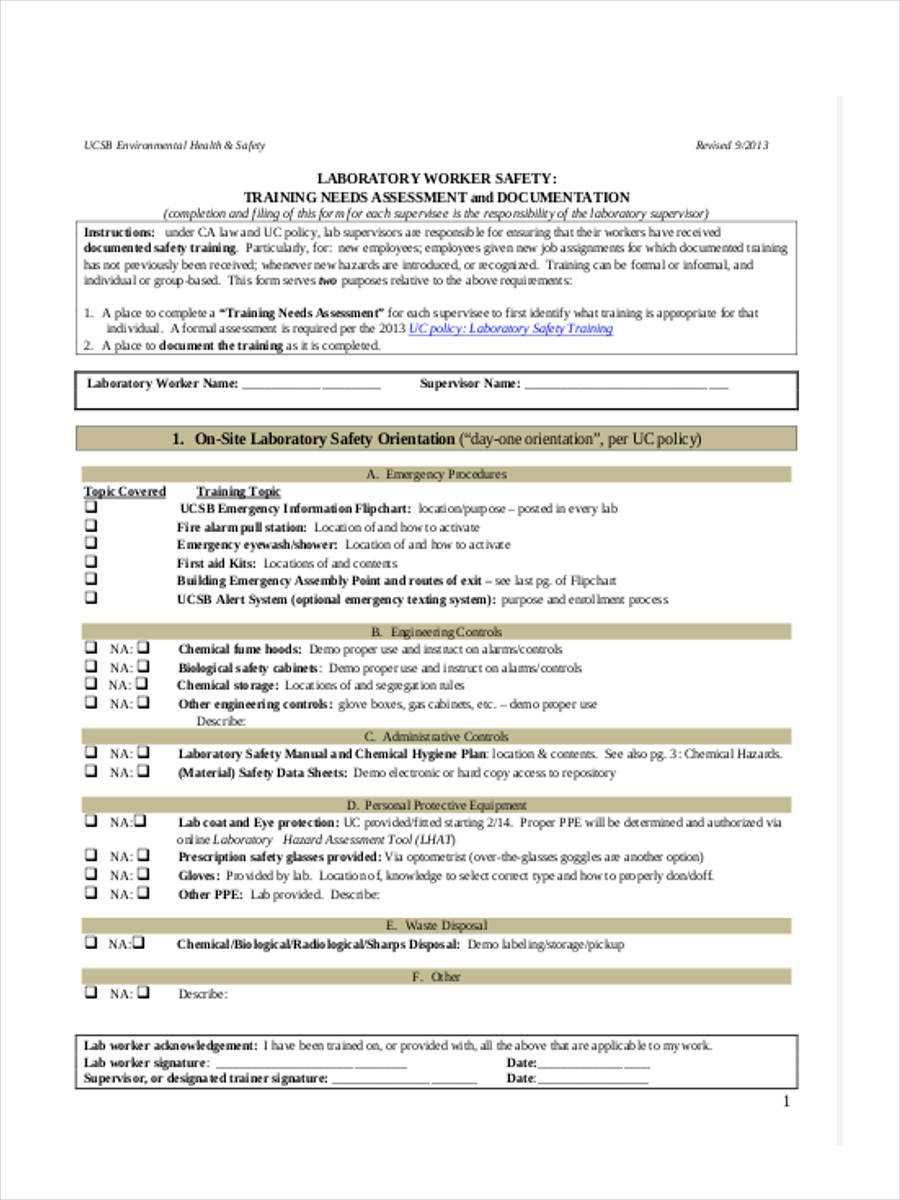 Free 6+ Training Needs Assessment Forms In Pdf Throughout Training Needs Analysis Report Template