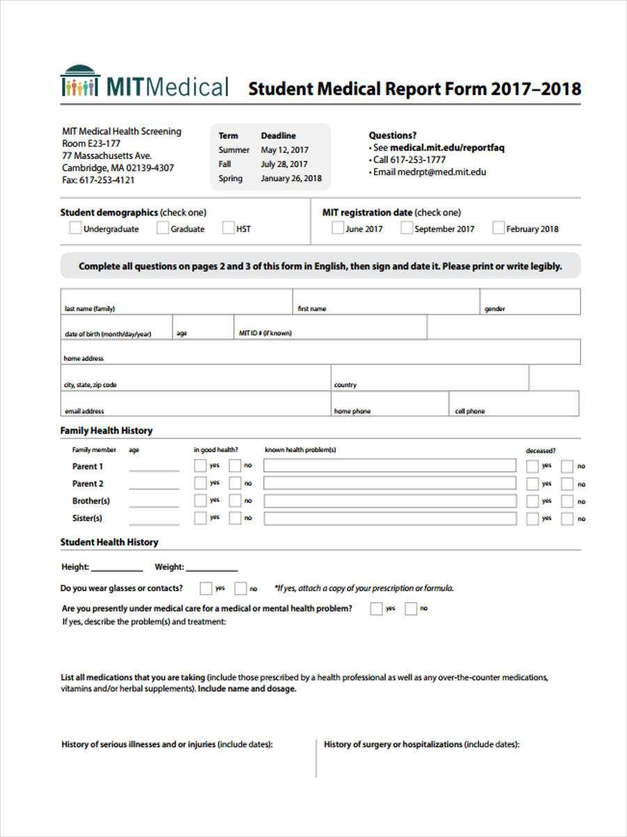 Free 7+ Medical Report Forms In Pdf   Ms Word For Medical Report Template Doc