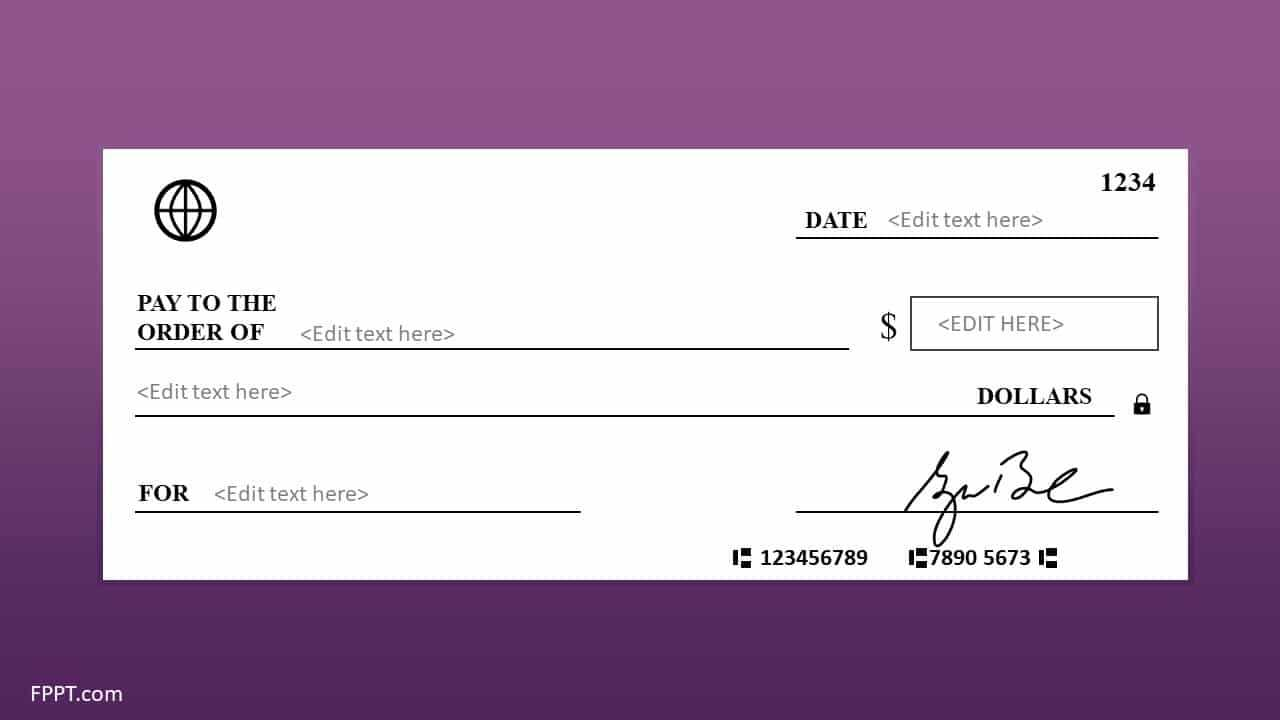 Free Blank Check Template For Powerpoint – Free Powerpoint Pertaining To Editable Blank Check Template