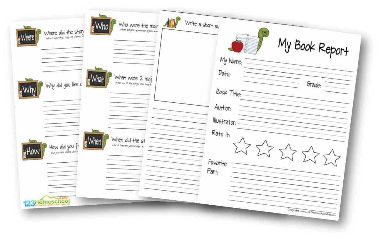 Free Book Report For Kids Inside Book Report Template Grade 1