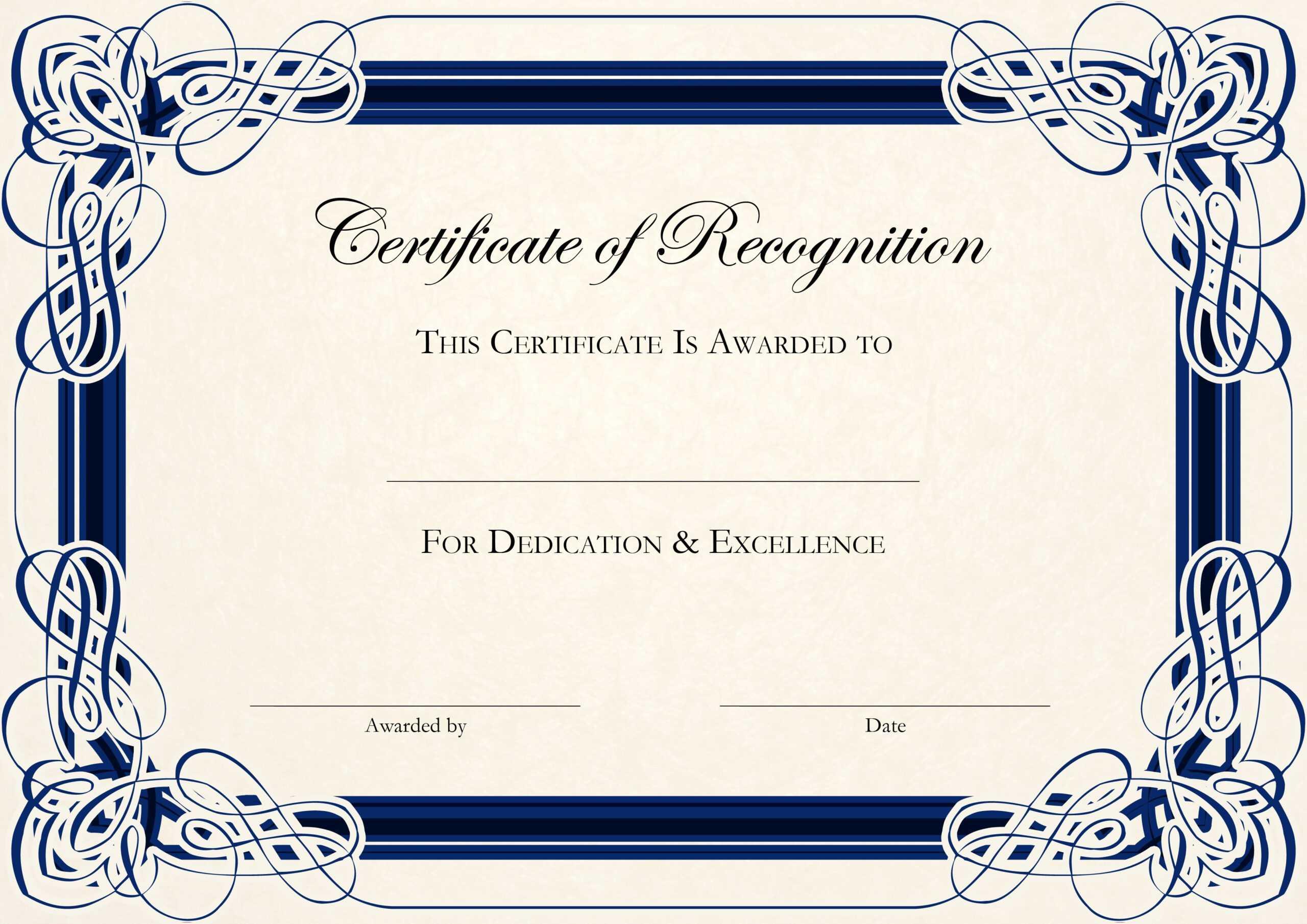 Free Certificate Templates For Word Regarding Certificate Templates For Word Free Downloads