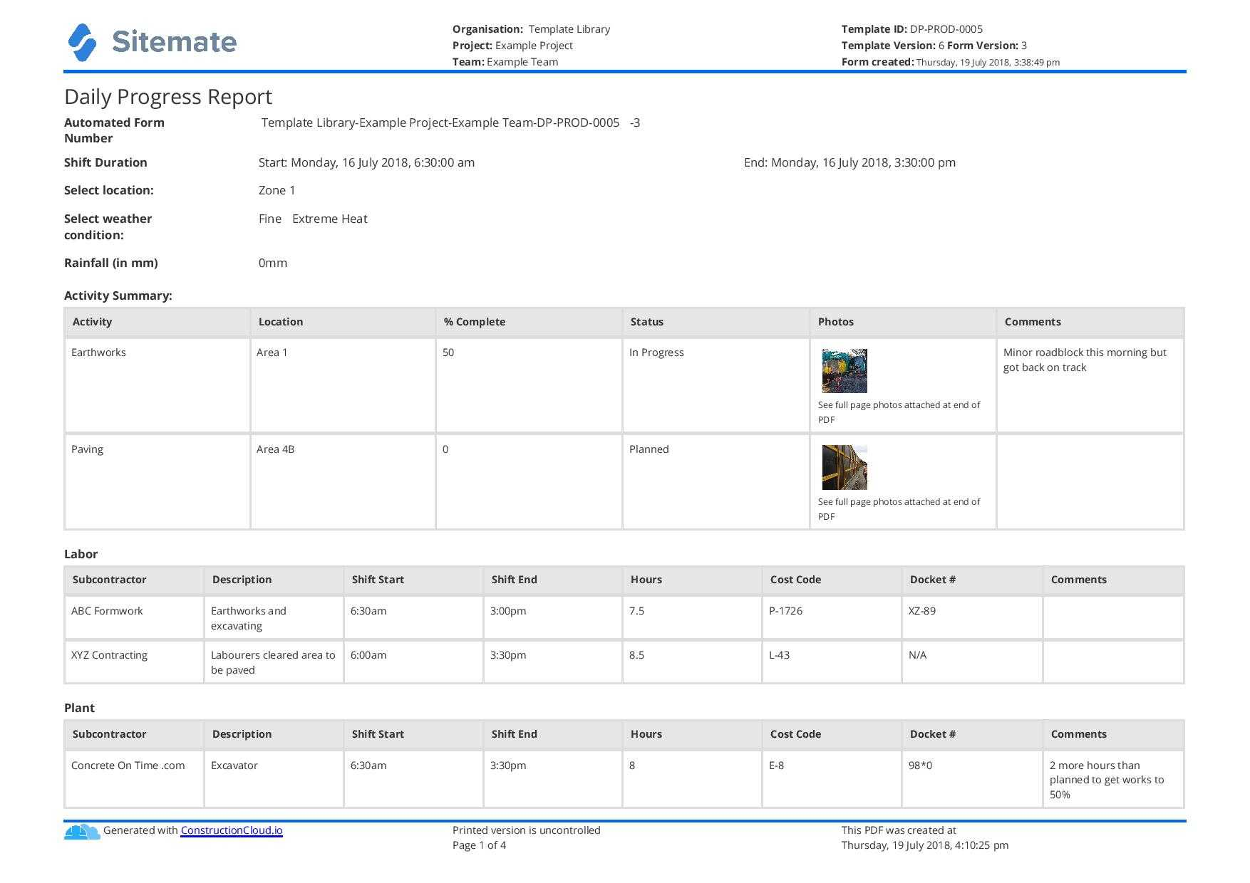 Free Construction Daily Report Template (Better Than Pdf Throughout It Progress Report Template