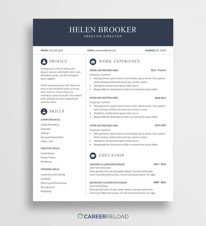 Free Cv Template For Word - Free Download - Career Reload Inside Free Resume Template Microsoft Word