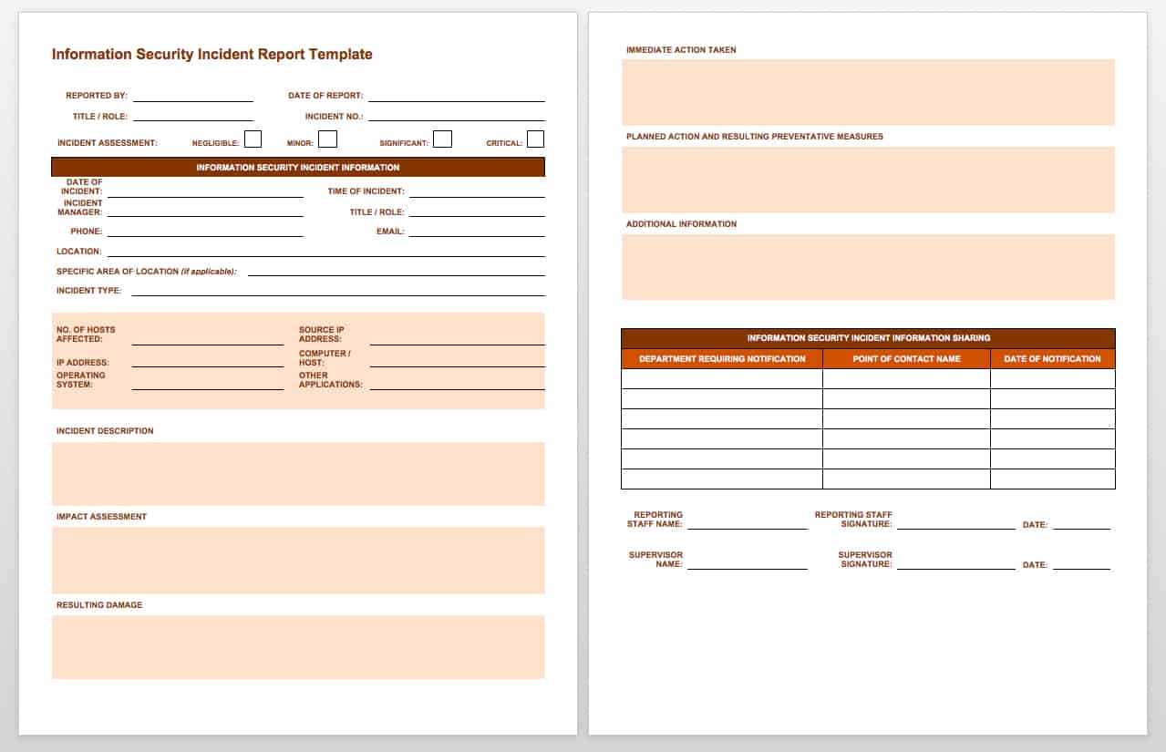 Free Incident Report Templates & Forms | Smartsheet Within Incident Report Log Template