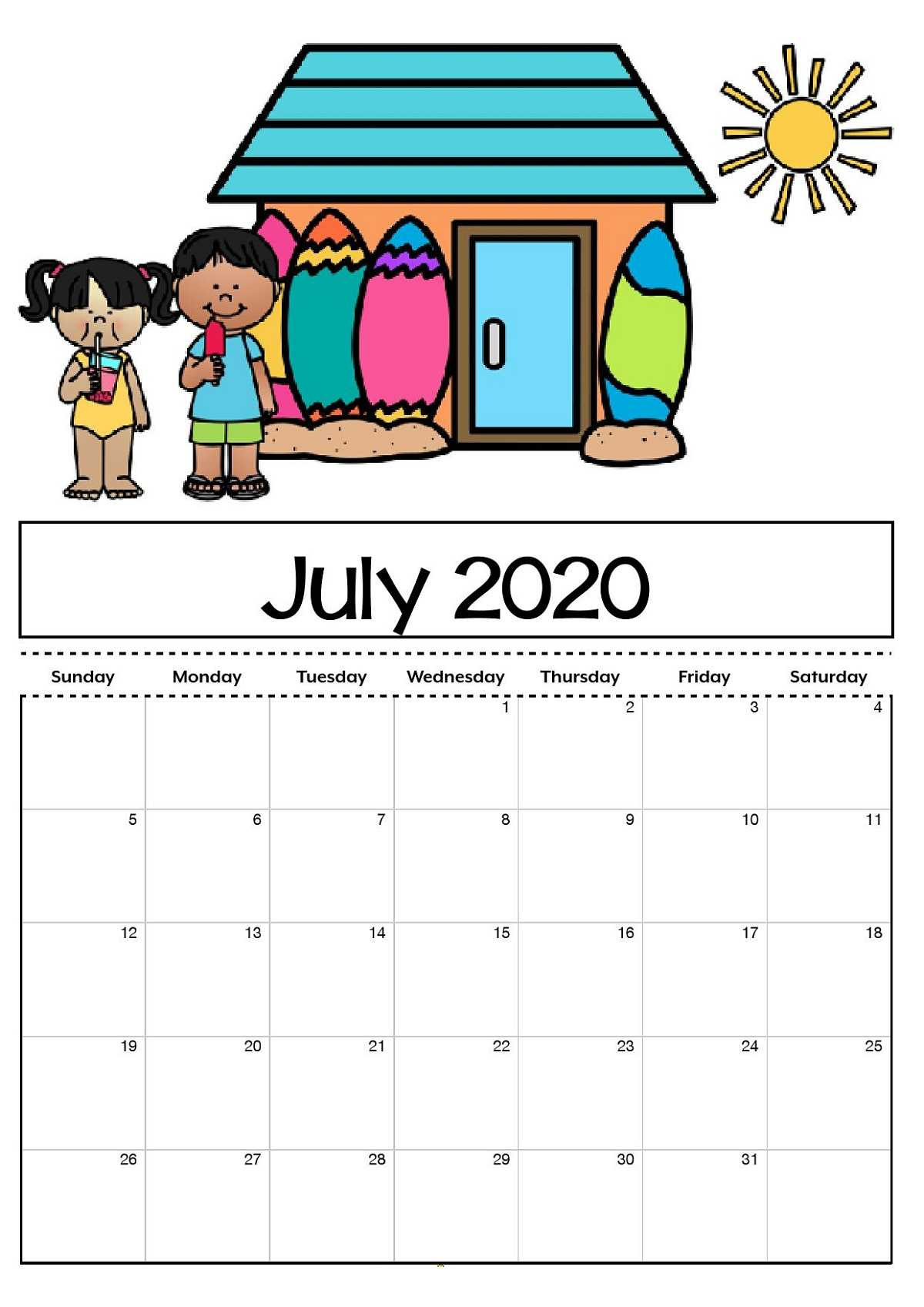 Free Printable Calendar Templates 2020 For Kids In Home In Blank Calendar Template For Kids