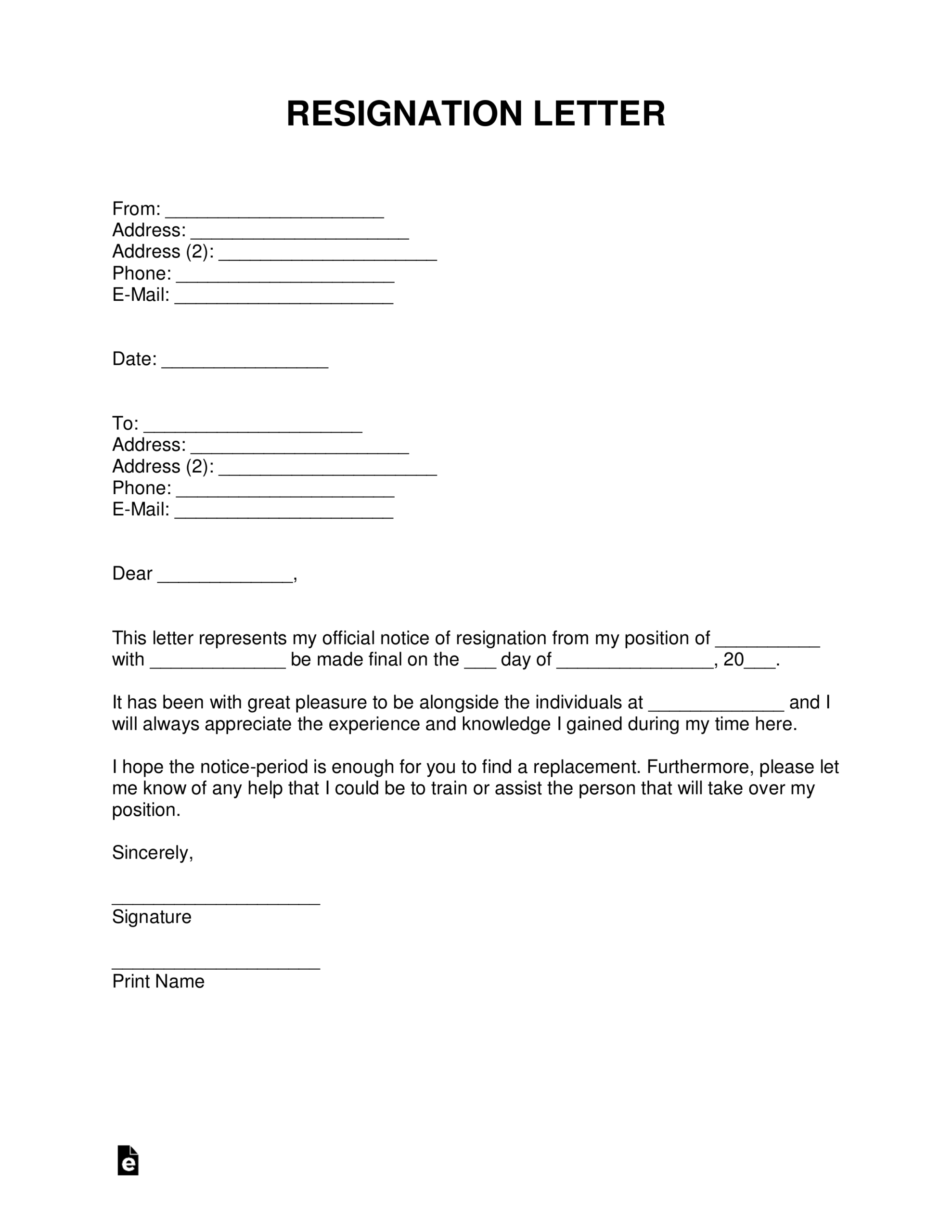 Free Resignation Letters | Templates & Samples - Pdf | Word For 2 Weeks Notice Template Word