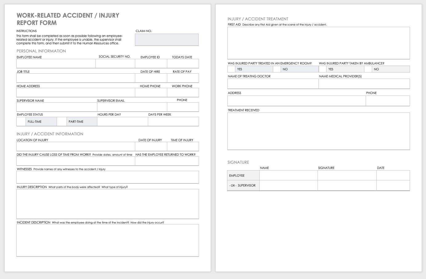 Free Workplace Accident Report Templates | Smartsheet With Injury Report Form Template