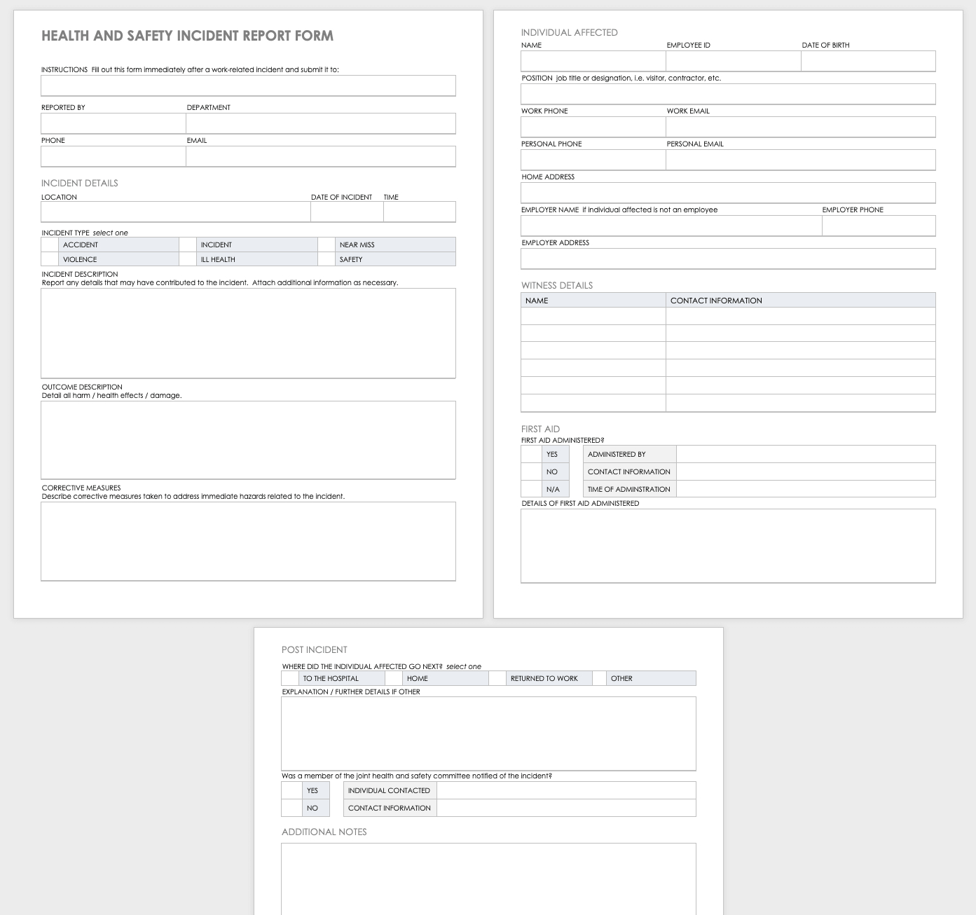 Free Workplace Accident Report Templates | Smartsheet With Regard To Health And Safety Incident Report Form Template