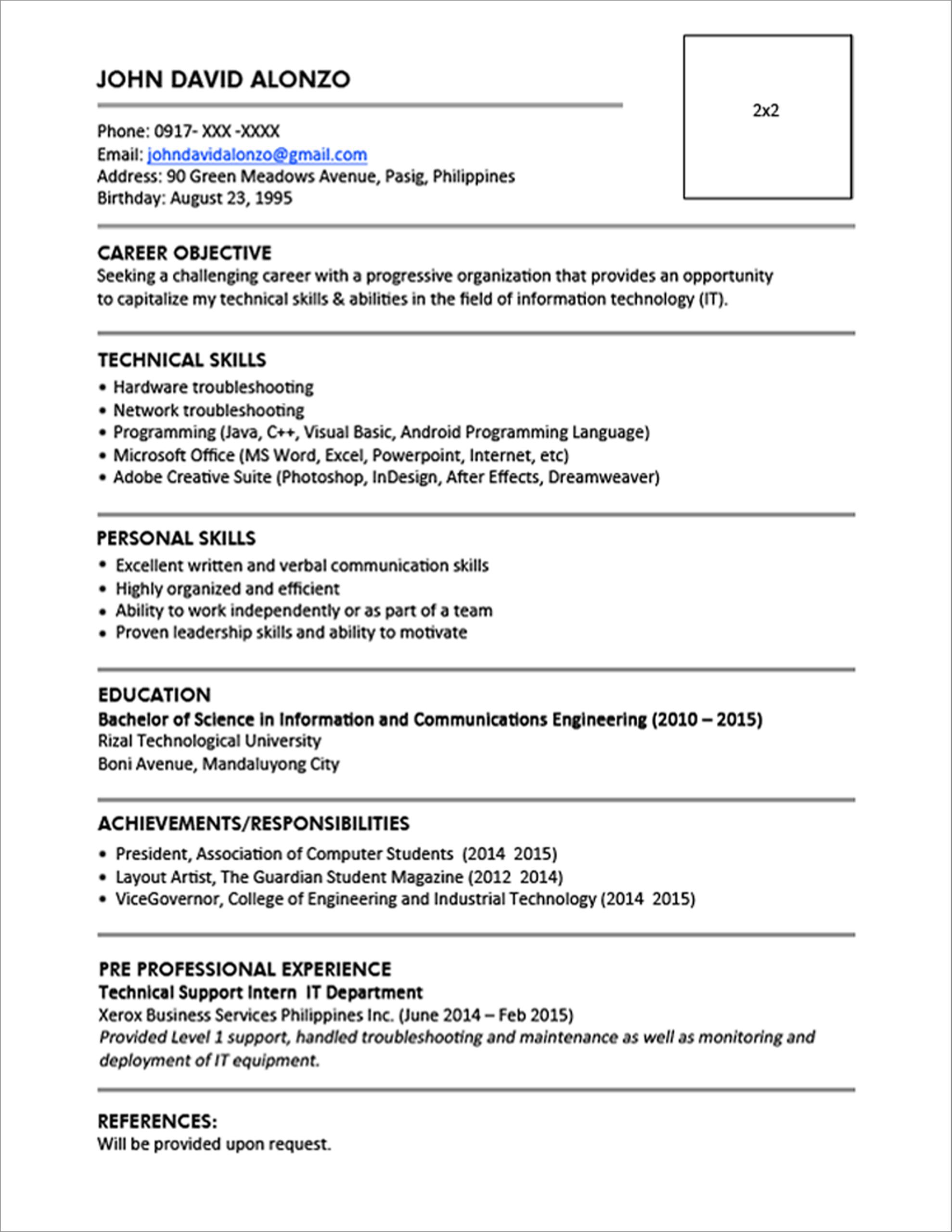 Fresh Graduate Cv Template – Karati.ald2014 Intended For College Student Resume Template Microsoft Word
