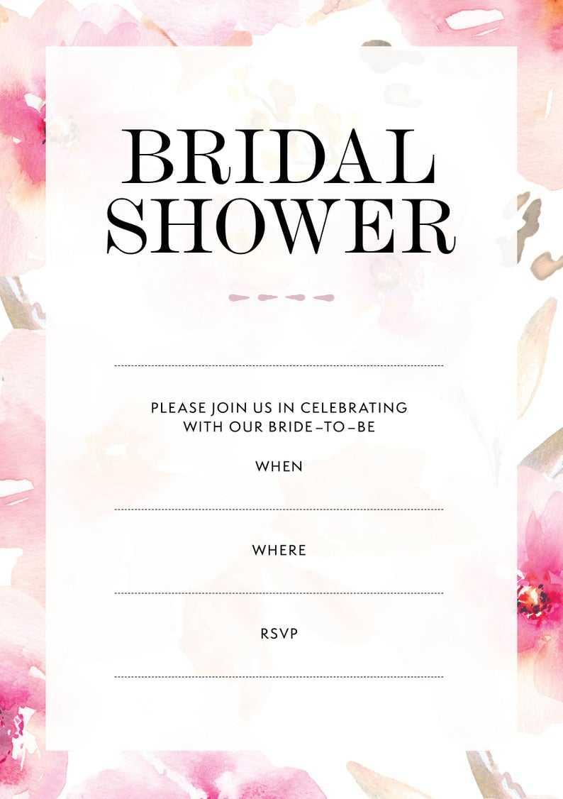Gardens // Blank Bridal Shower Invitation (Instant Download) With Blank Bridal Shower Invitations Templates