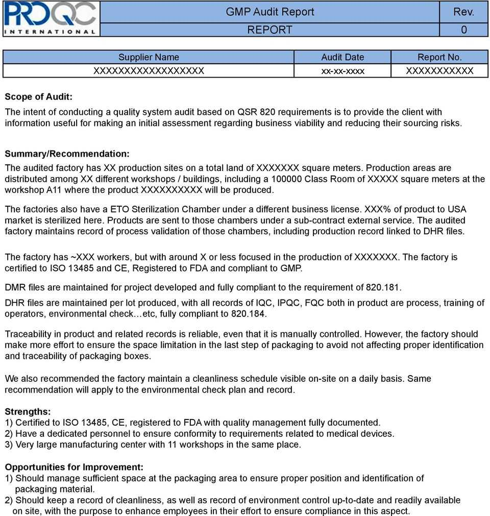 Gmp Audit Report. * Example Report * - Pdf Free Download Inside Gmp Audit Report Template