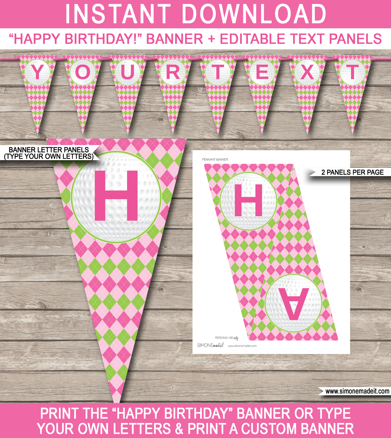 Golf Birthday Party Banner Template – Pink & Green Inside Diy Party Banner Template