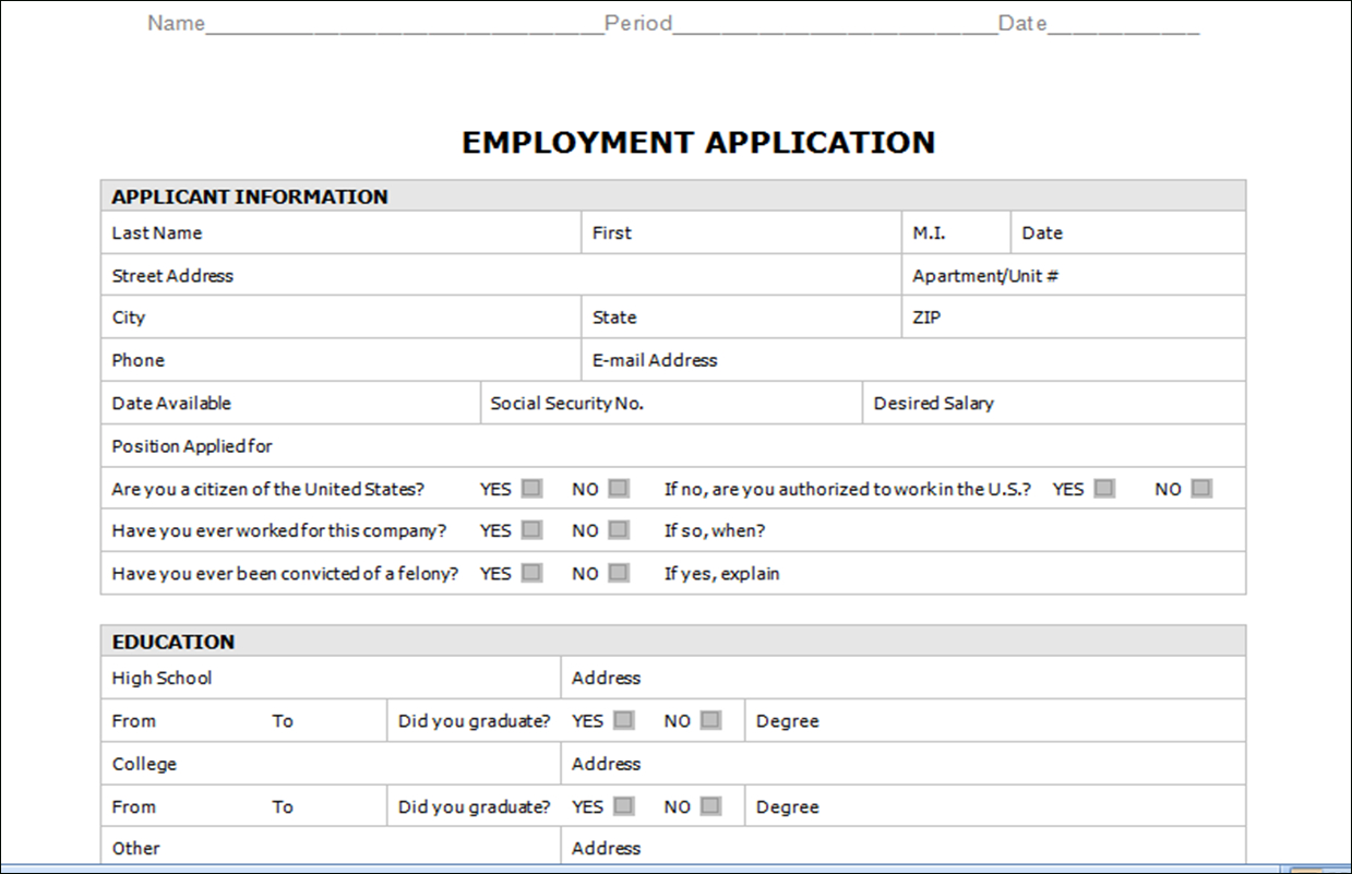 Handout – Employment Application Intended For Employment Application Template Microsoft Word