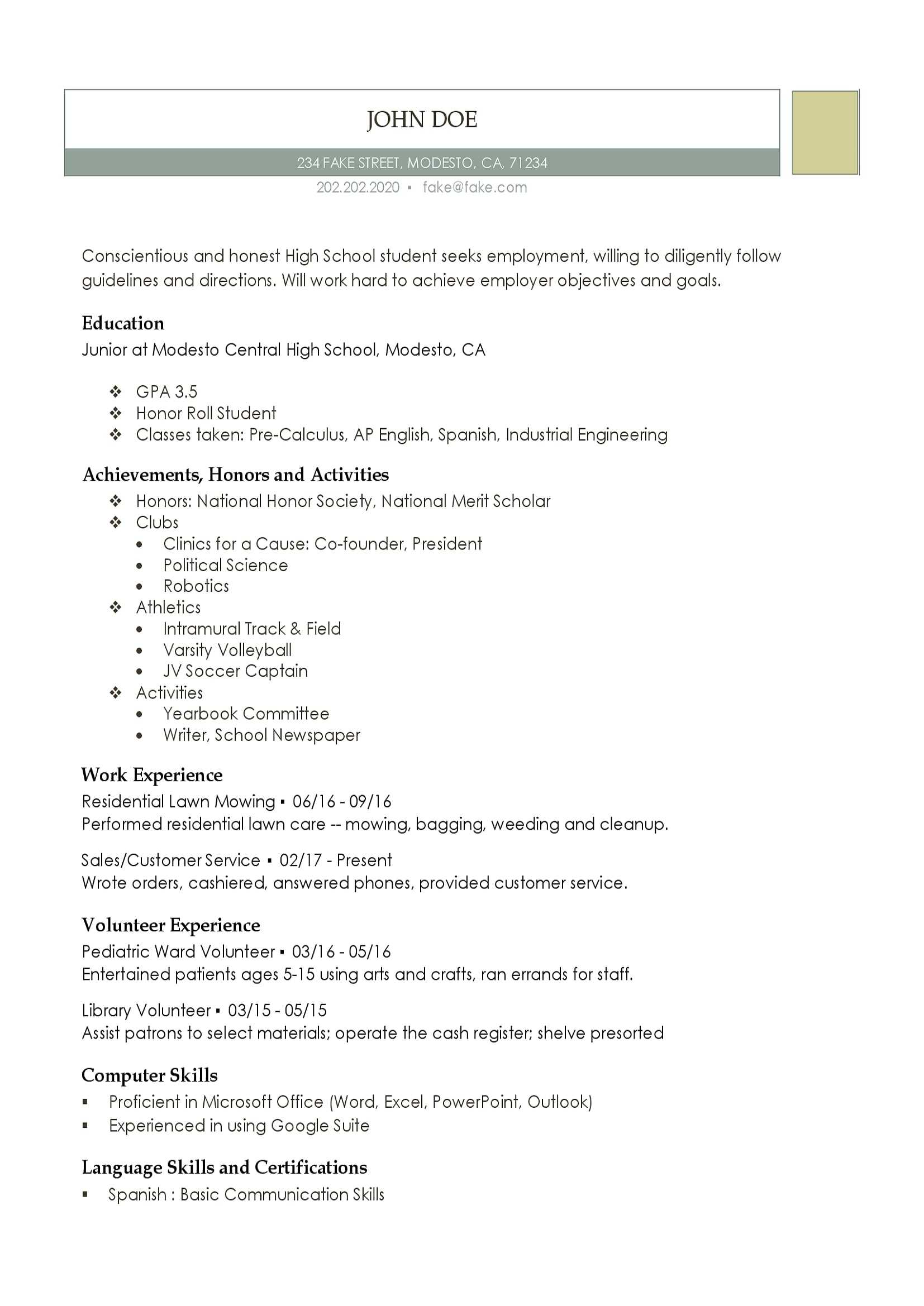 High School Resume – Resumes Perfect For High School Students Pertaining To College Student Resume Template Microsoft Word