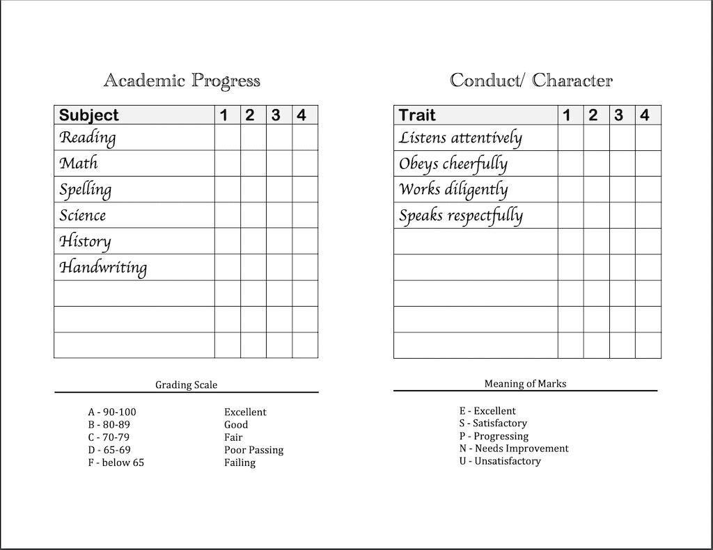 Homeschool Report Cards - Flanders Family Homelife Within Homeschool Middle School Report Card Template