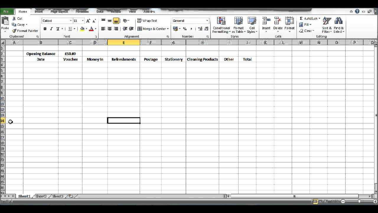 How To Create A Petty Cash Template Using Excel - Part 2 Within Petty Cash Expense Report Template