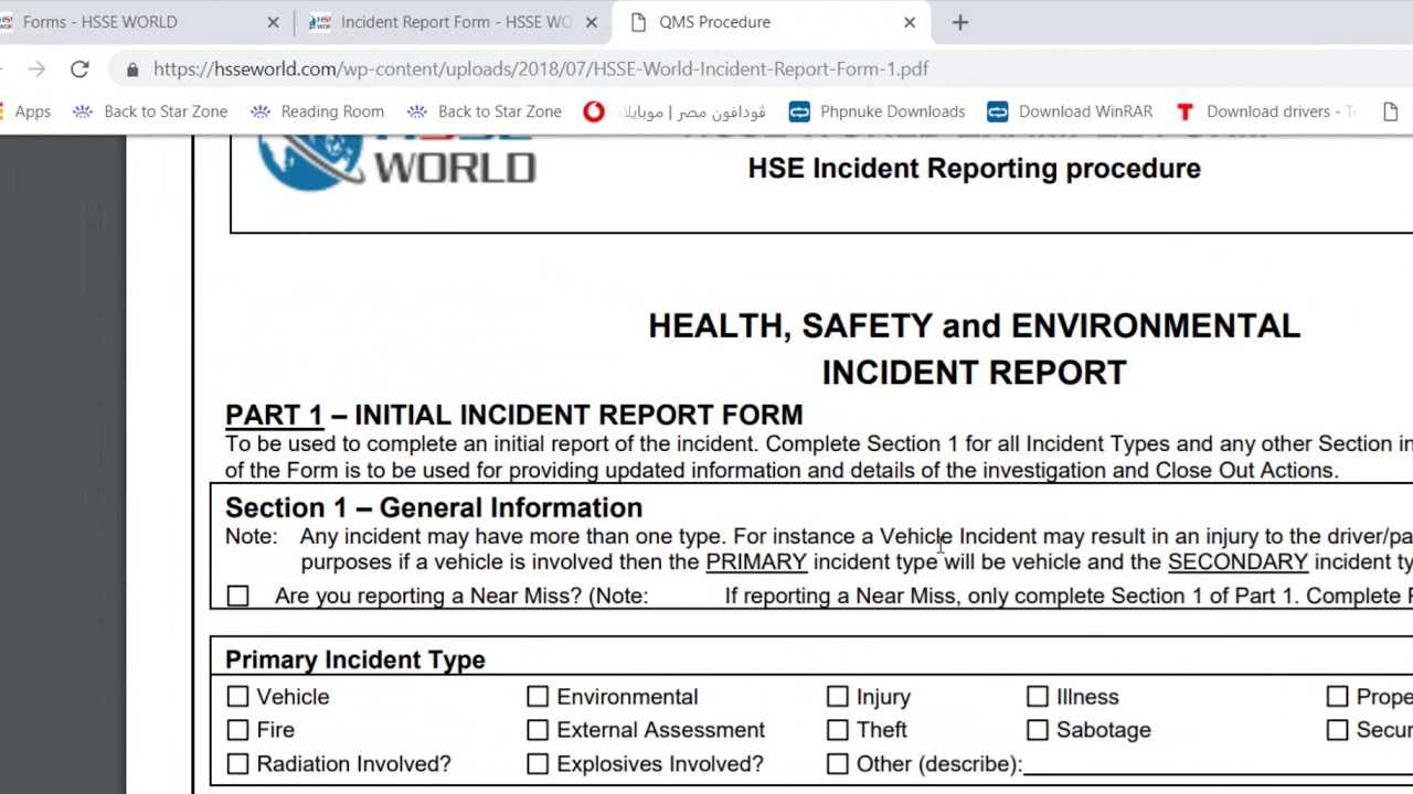 Incident Report Form – Hsse World For Health And Safety Incident Report Form Template
