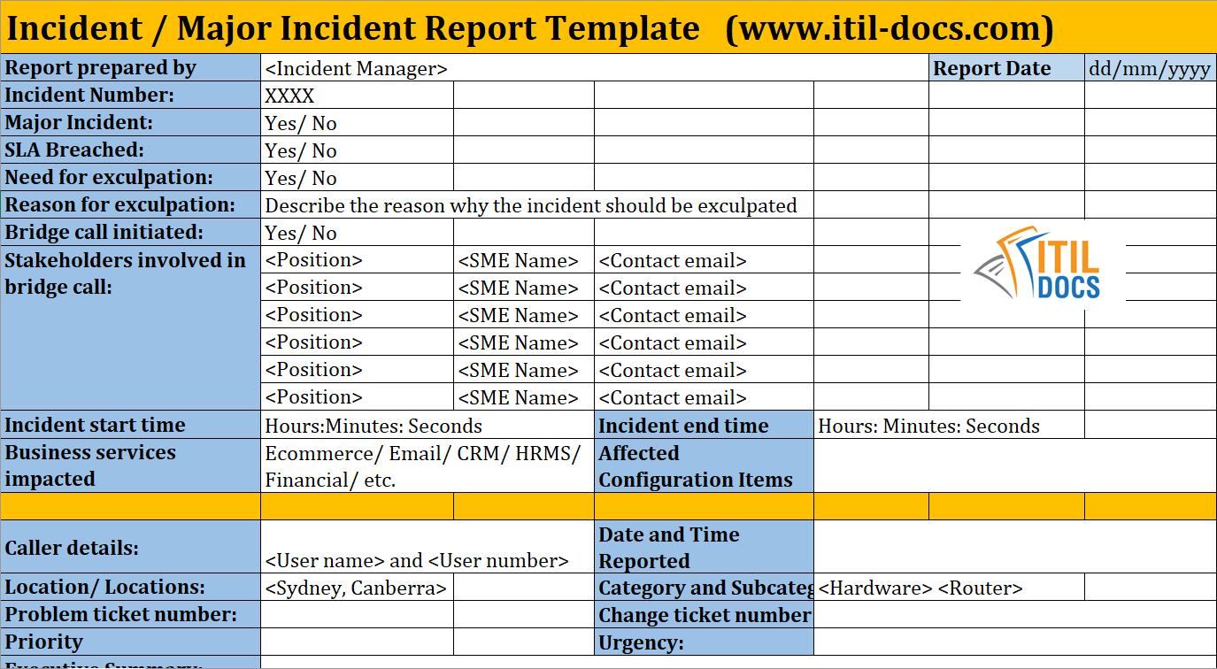 Incident Report Template   Major Incident Management – Itil Docs Within It Management Report Template