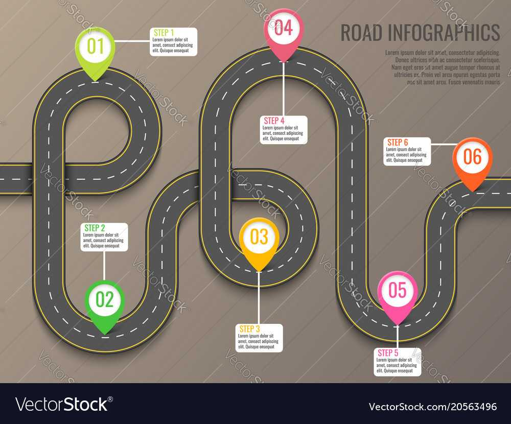 Infographics Template With Road Map Using Pointers Inside Blank Road Map Template