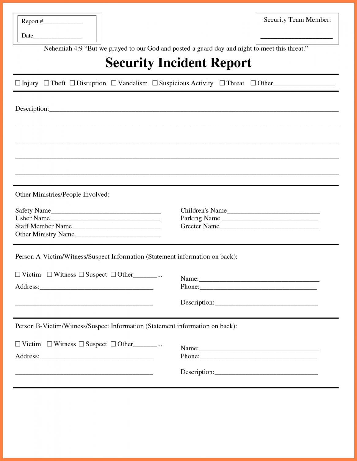 Information Technology Incident Report Template Within Incident Report Form Template Doc