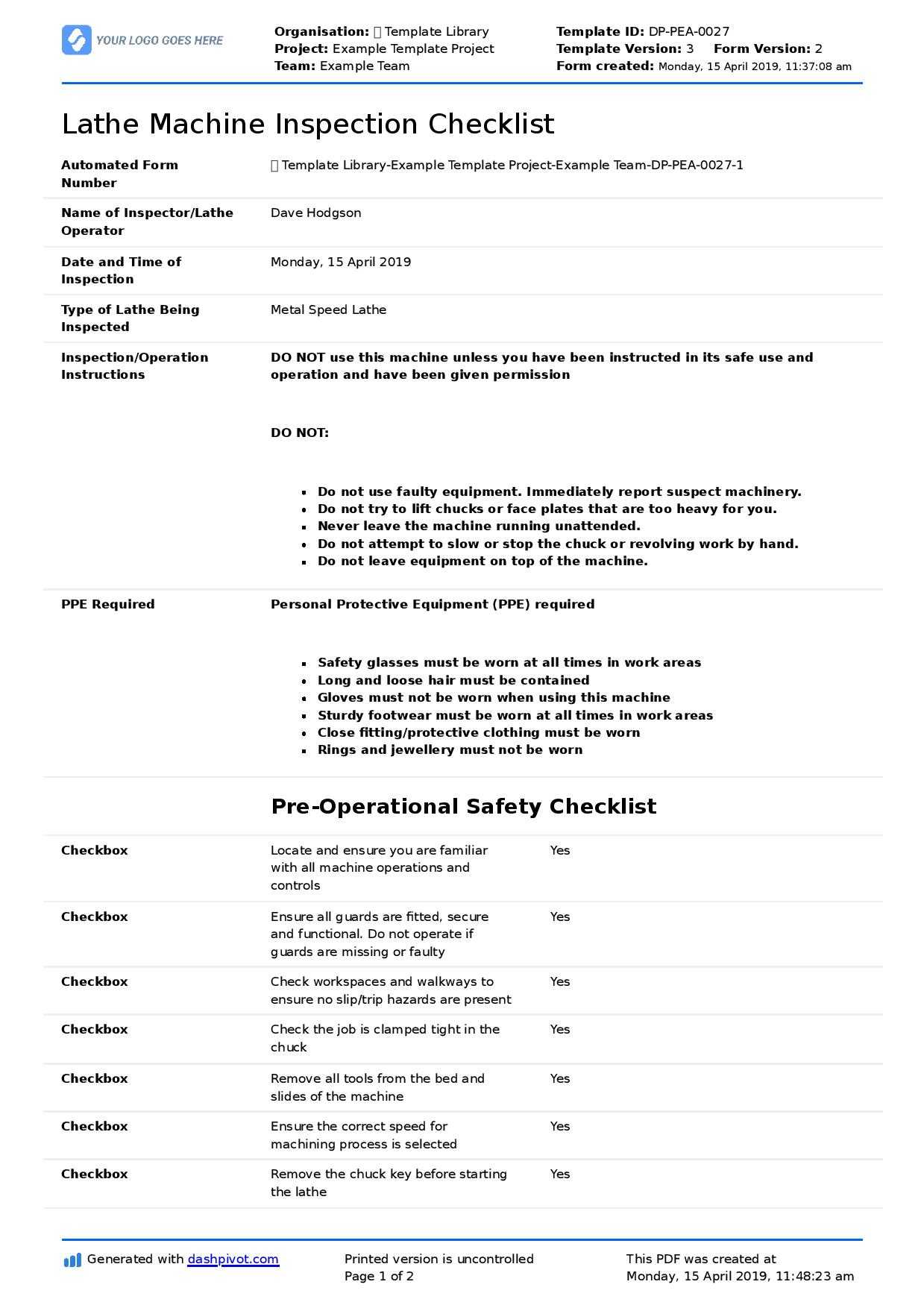 Inspection Spreadsheet Template Great Machine Shop Report Intended For Shop Report Template