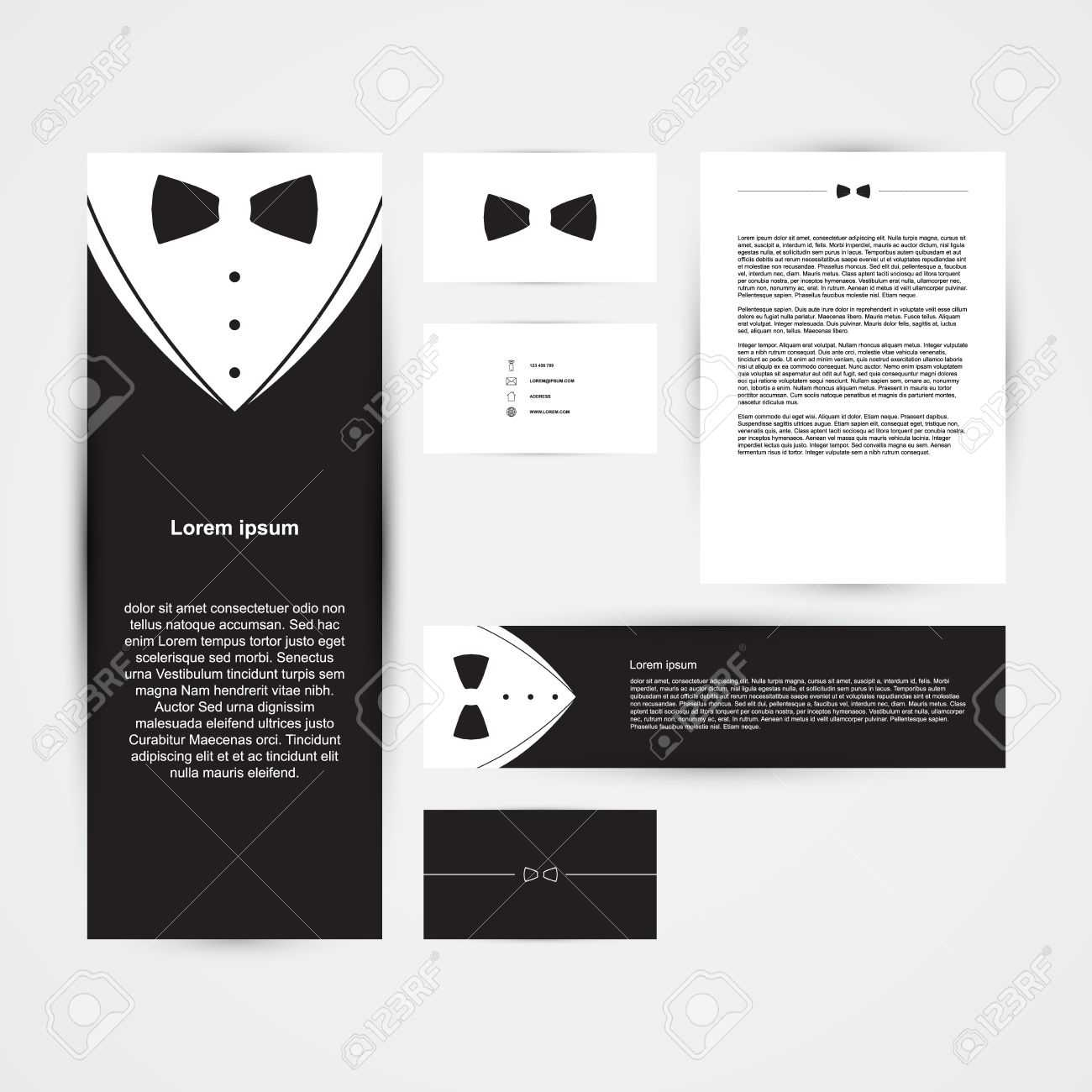 Invitation Template, Black Design With Bow Tie, Business Card, Banner,  Vector Illustration Within Tie Banner Template