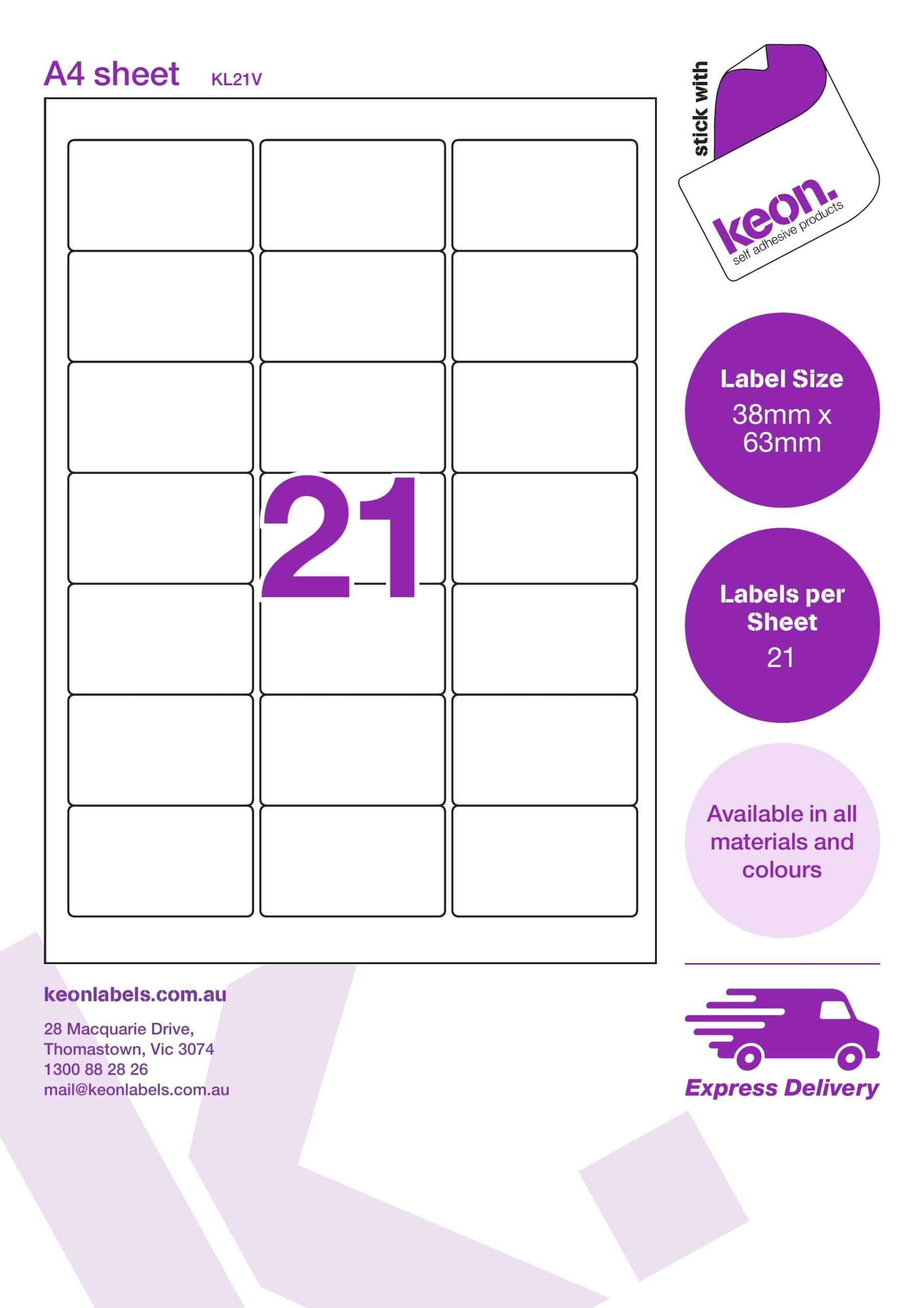 Kl21V 38.1 X 63.5 R174 With Word Label Template 21 Per Sheet