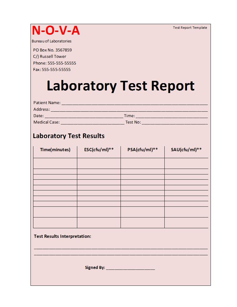 Laboratory Test Report Template Regarding Medical Report Template Free Downloads