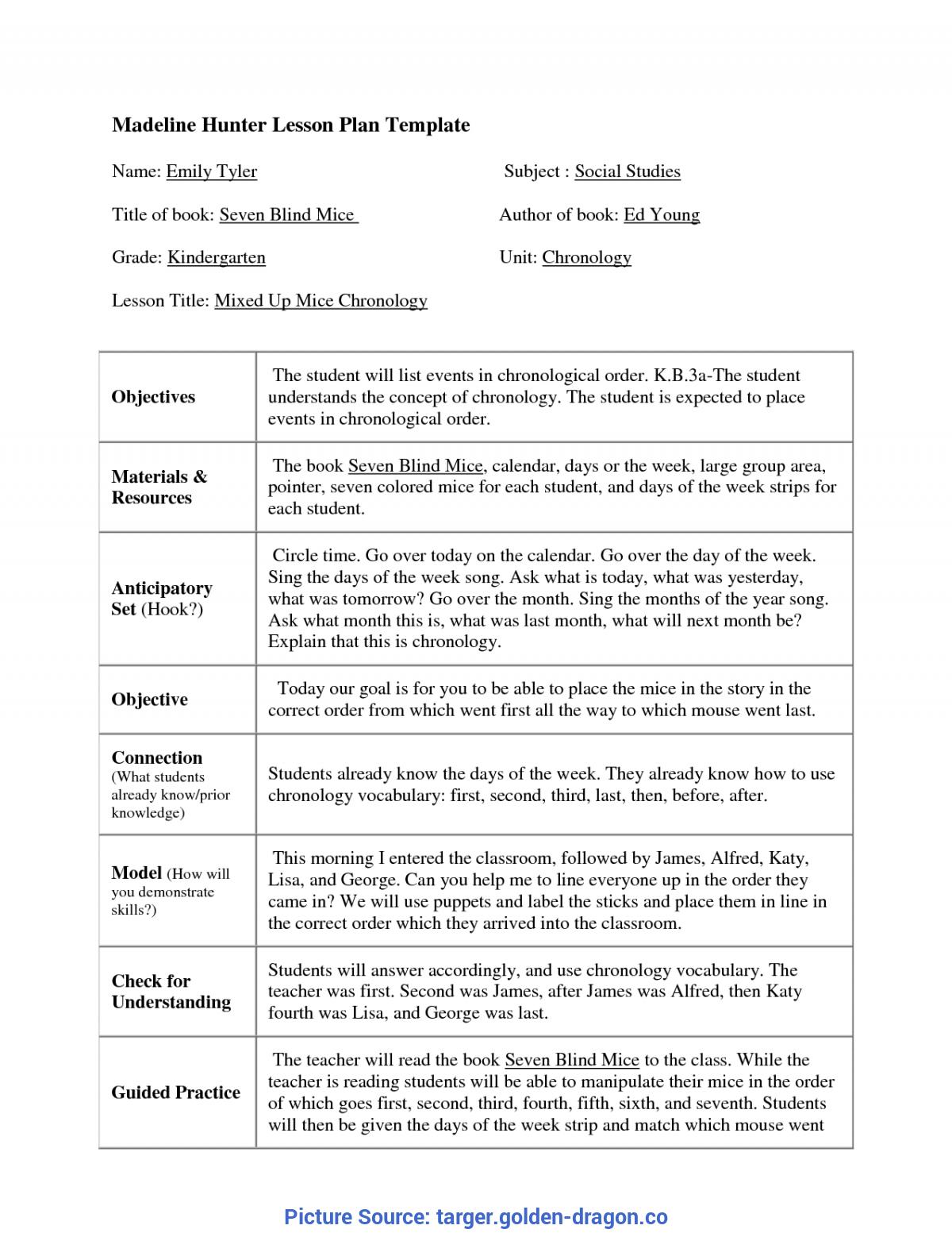 Madeline Hunter Lesson Plan Template Blank - Best Inside Madeline Hunter Lesson Plan Template Blank