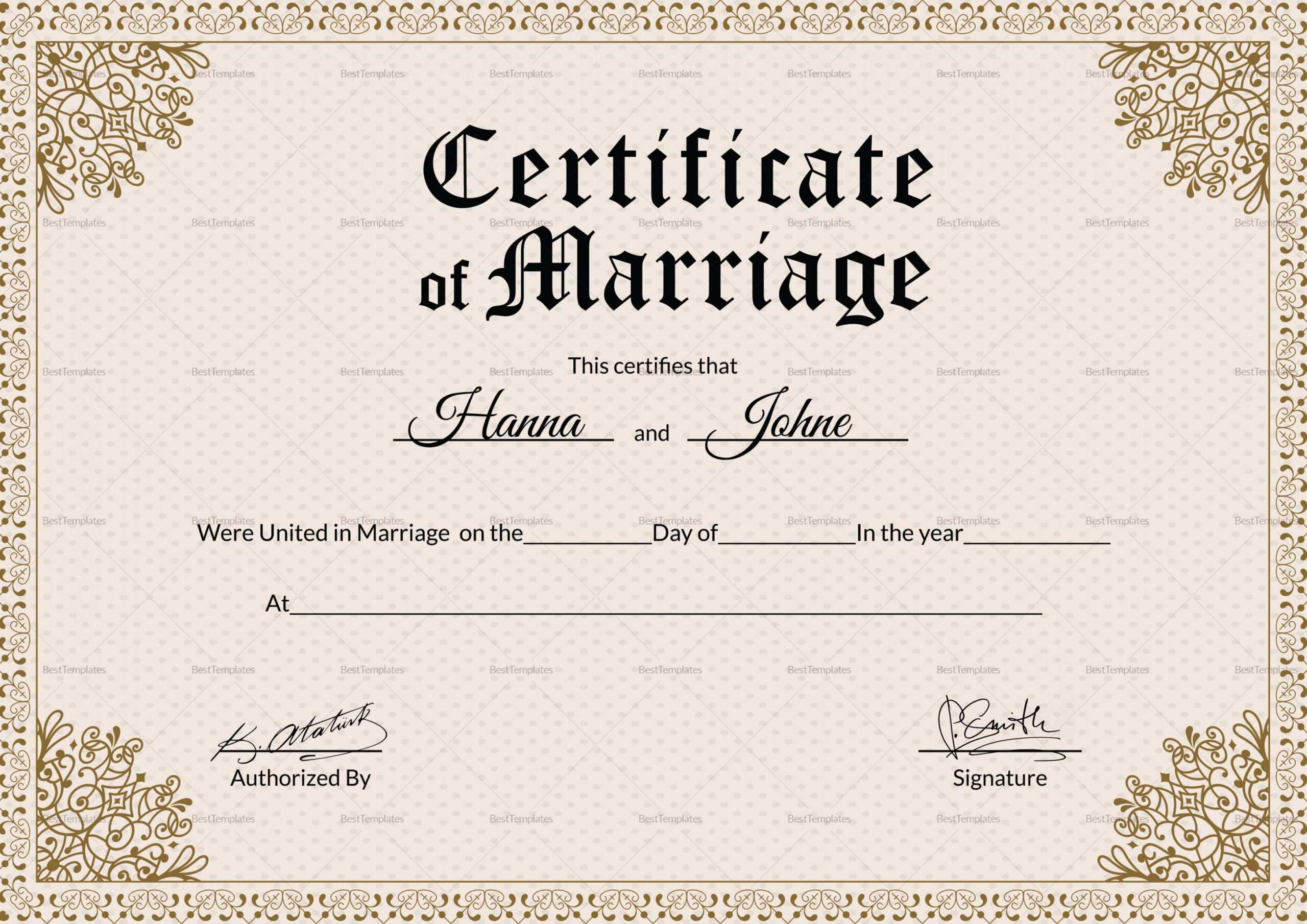 Marriage Certificate Doc - Karan.ald2014 In Blank Marriage Certificate Template